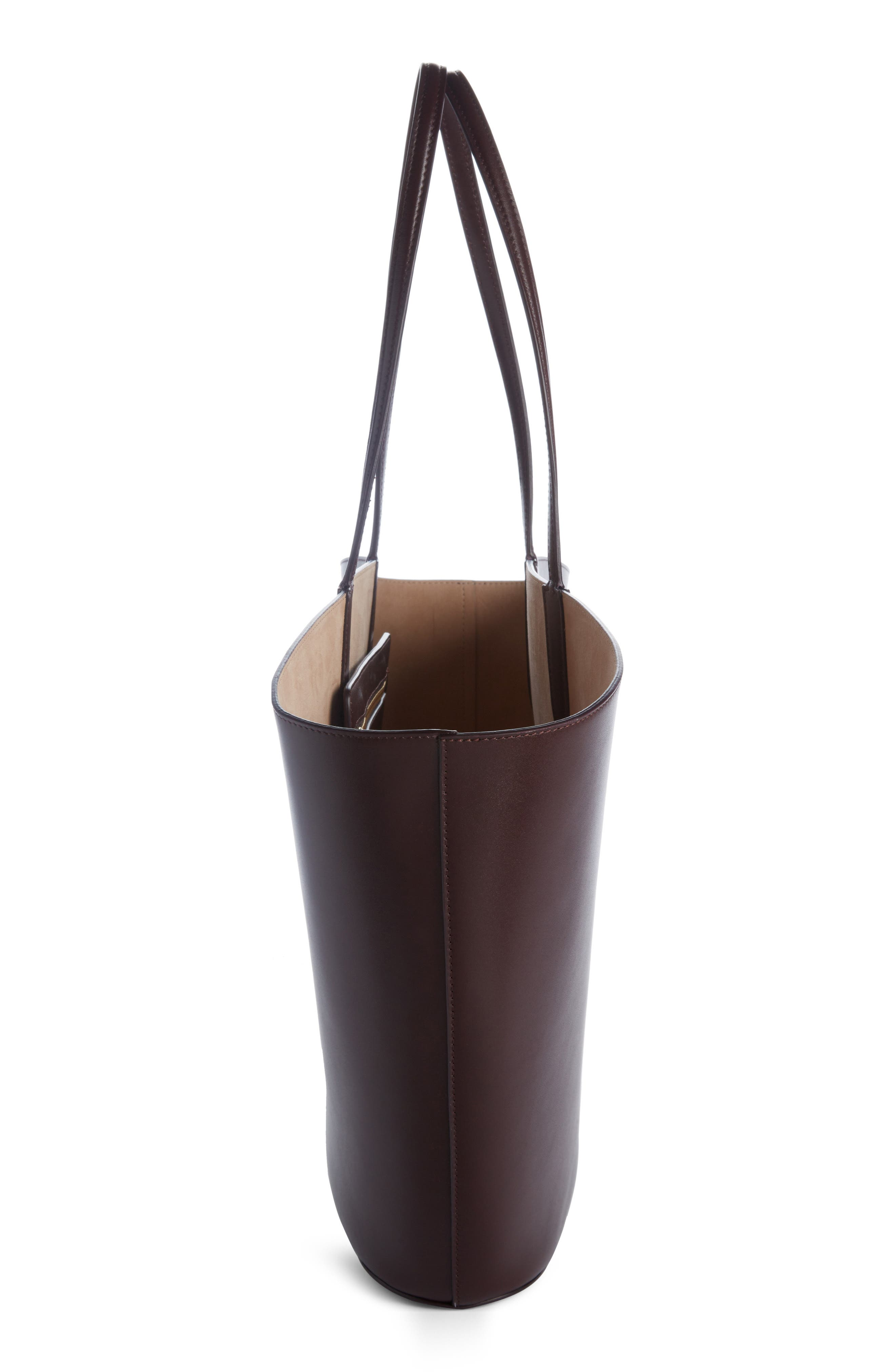 East/West Calfskin Leather Tote,                             Alternate thumbnail 3, color,                             Black