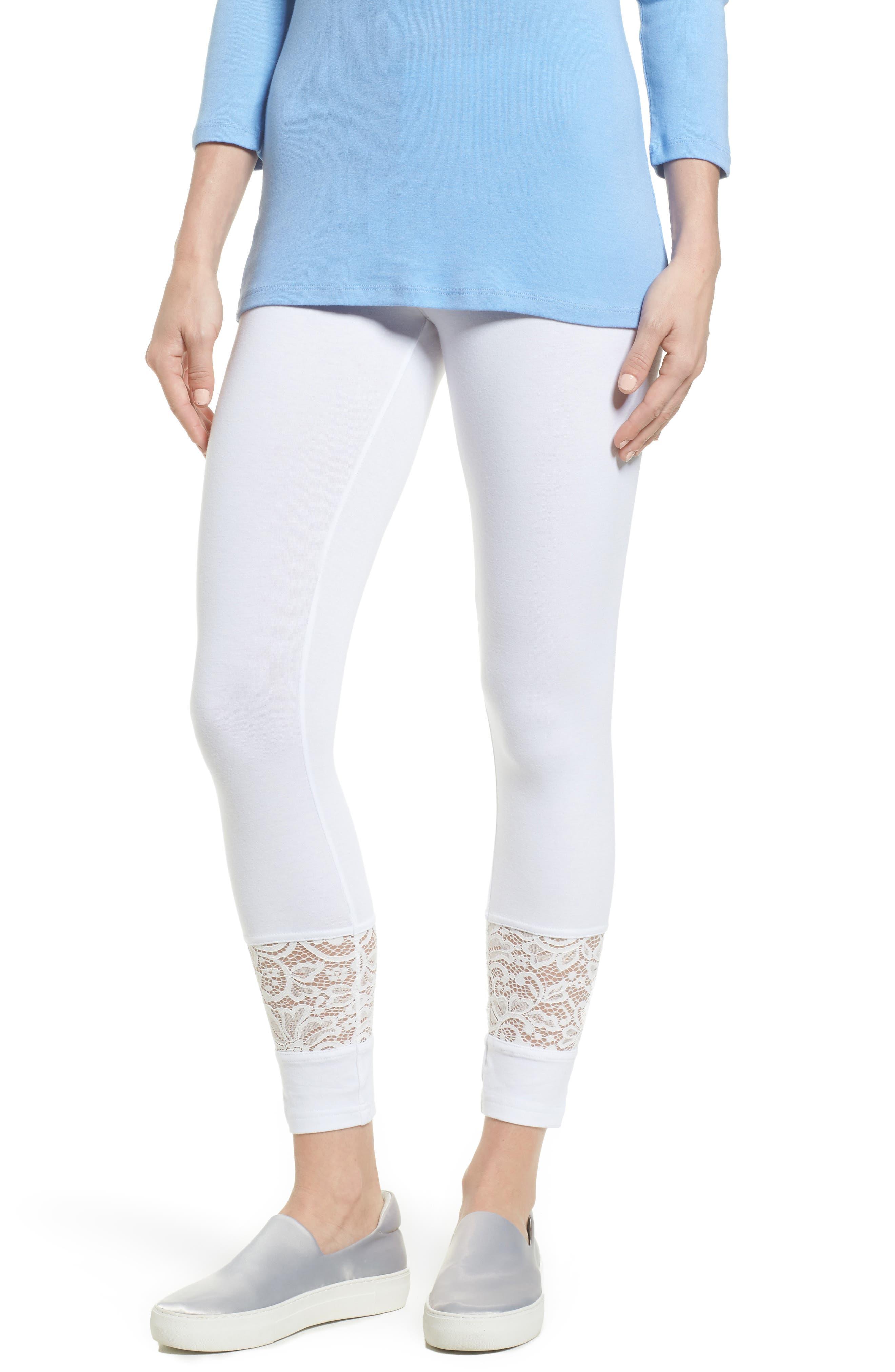 Lace Block Skimmer Leggings,                         Main,                         color, White