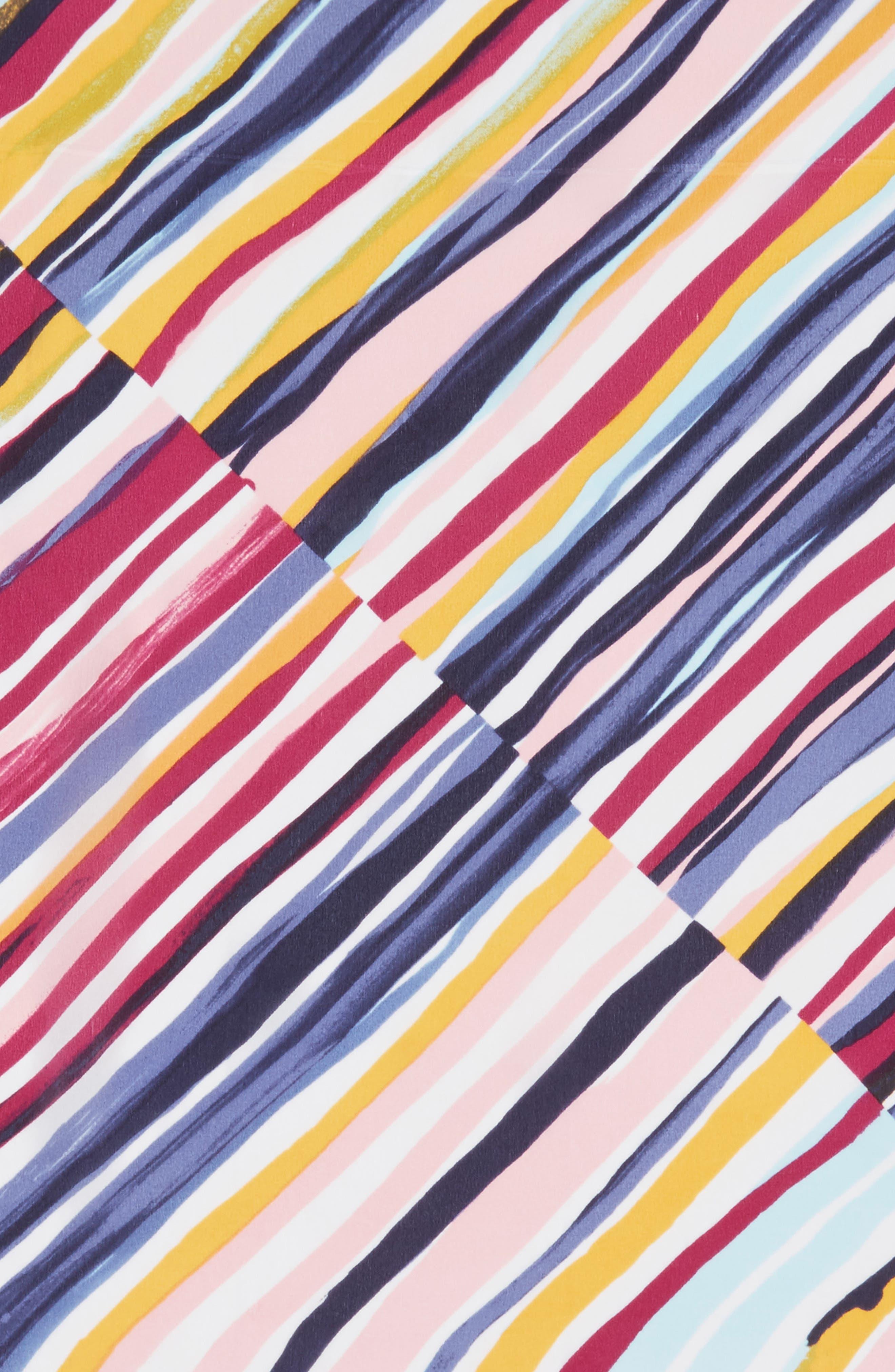 Print Silk Scarf,                             Alternate thumbnail 4, color,                             Purple Marker Mix Stripe Print
