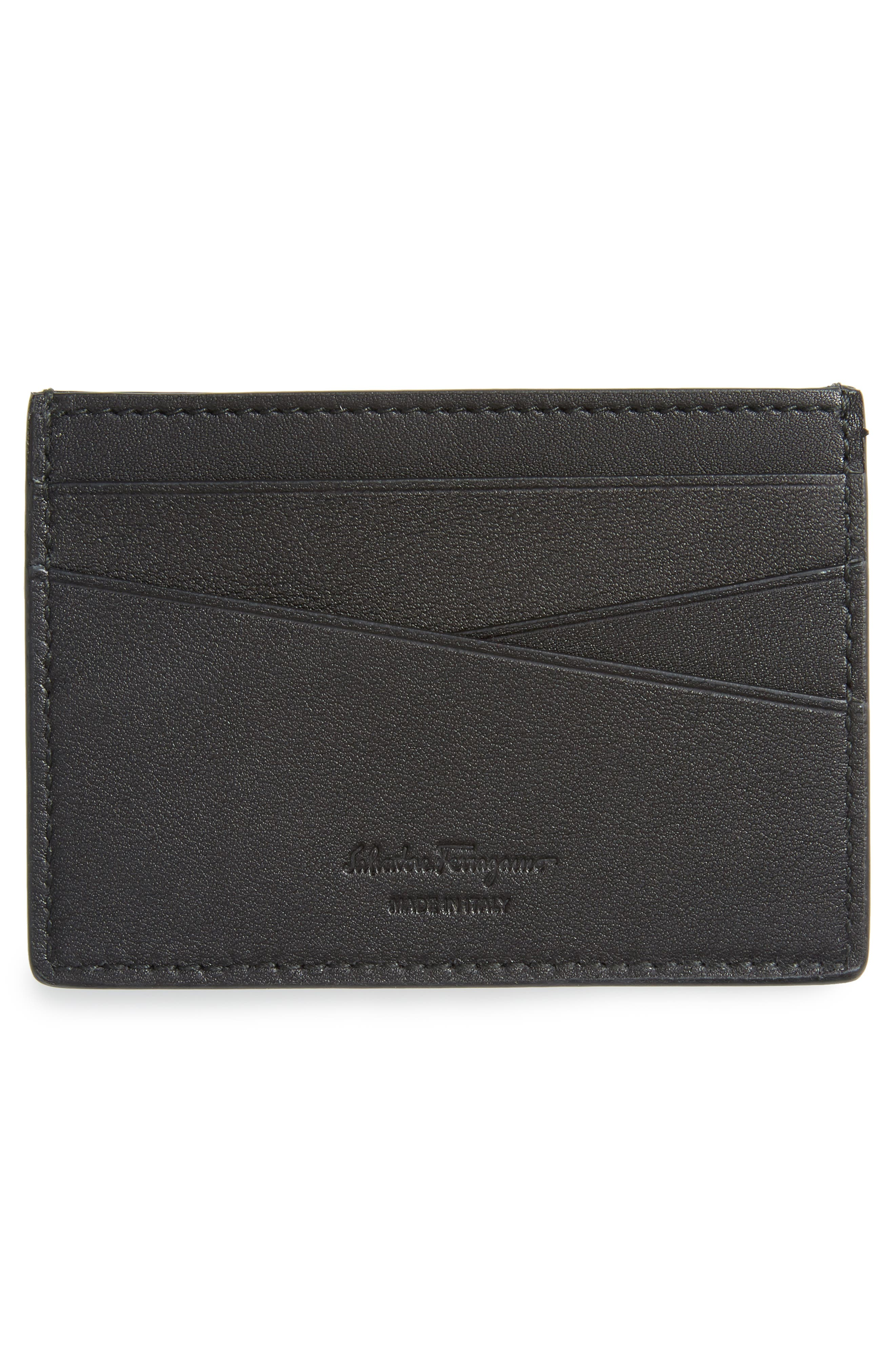 Calfskin Leather Card Case,                             Alternate thumbnail 2, color,                             Black