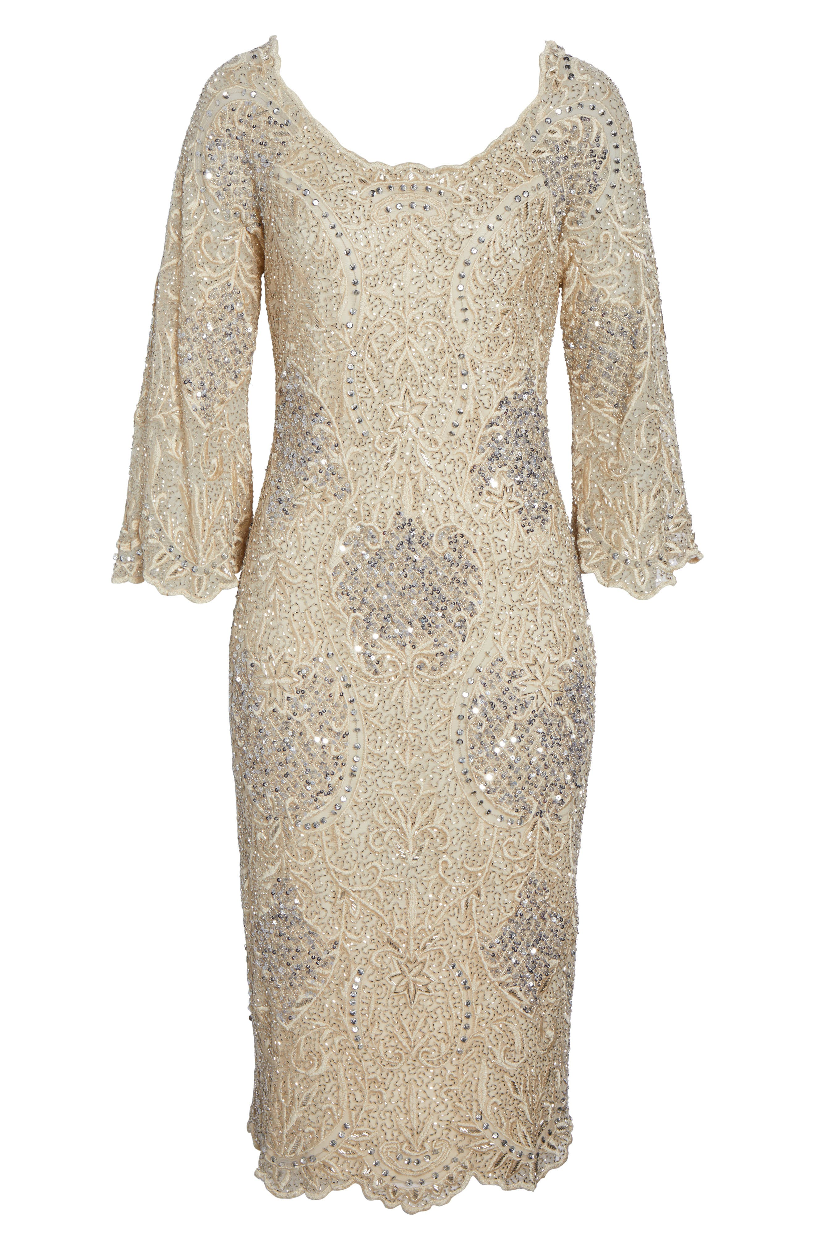 Embroidered Scallop Edge Midi Sheath Dress,                             Alternate thumbnail 6, color,                             Champagne