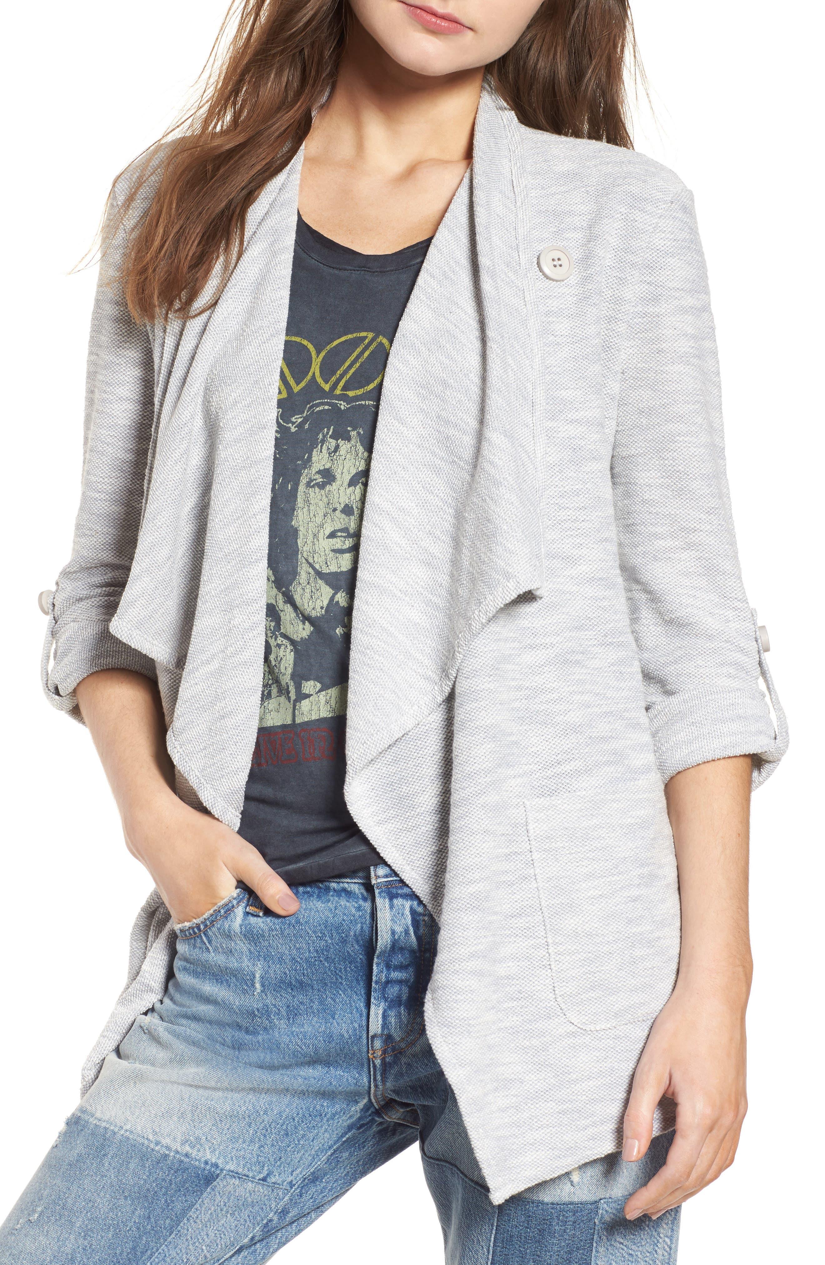 Kris Drape Front Knit Jacket,                         Main,                         color, Oatmeal