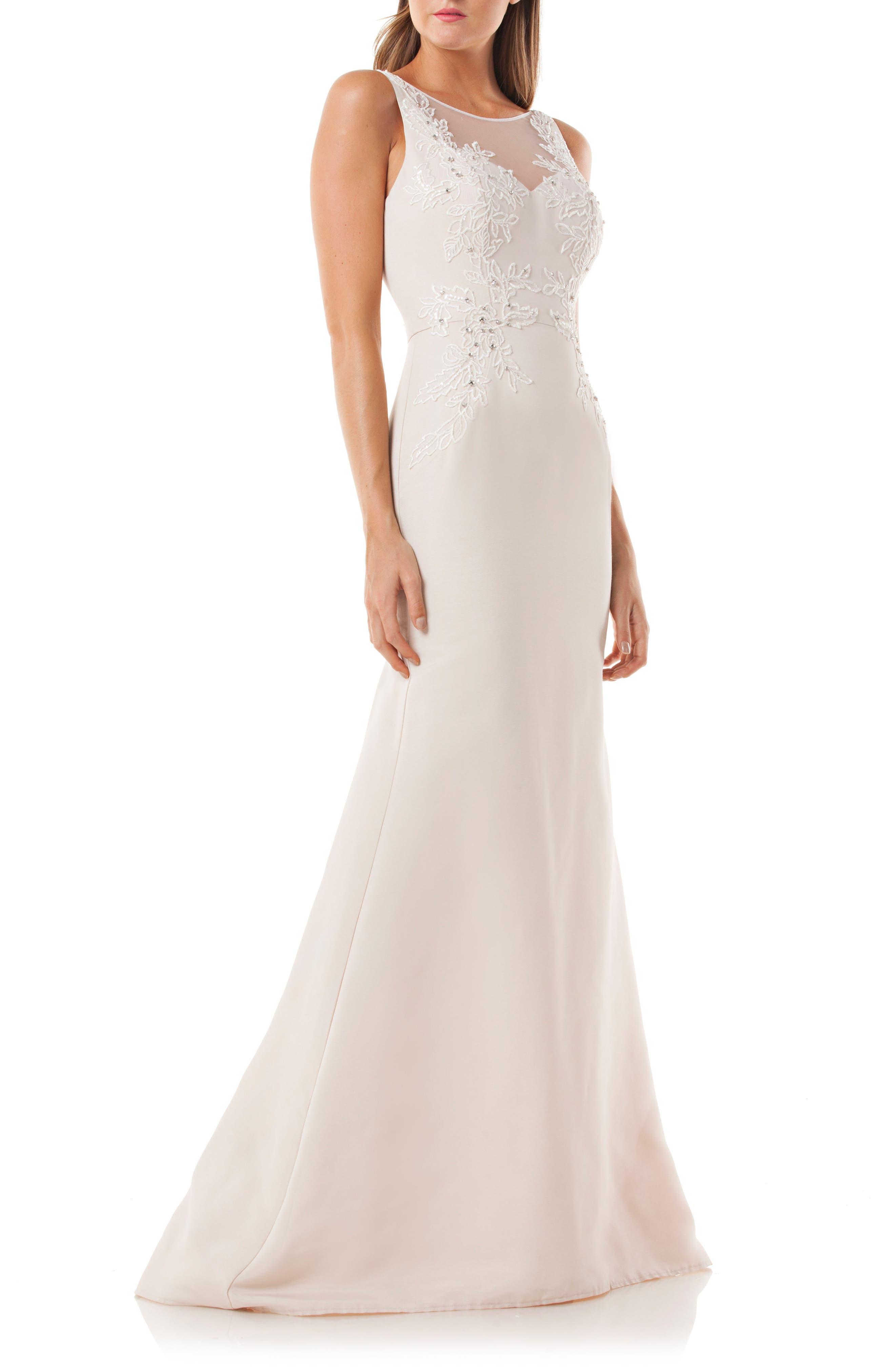 Lace Appliqué Mermaid Gown,                             Main thumbnail 1, color,                             Champ/ White
