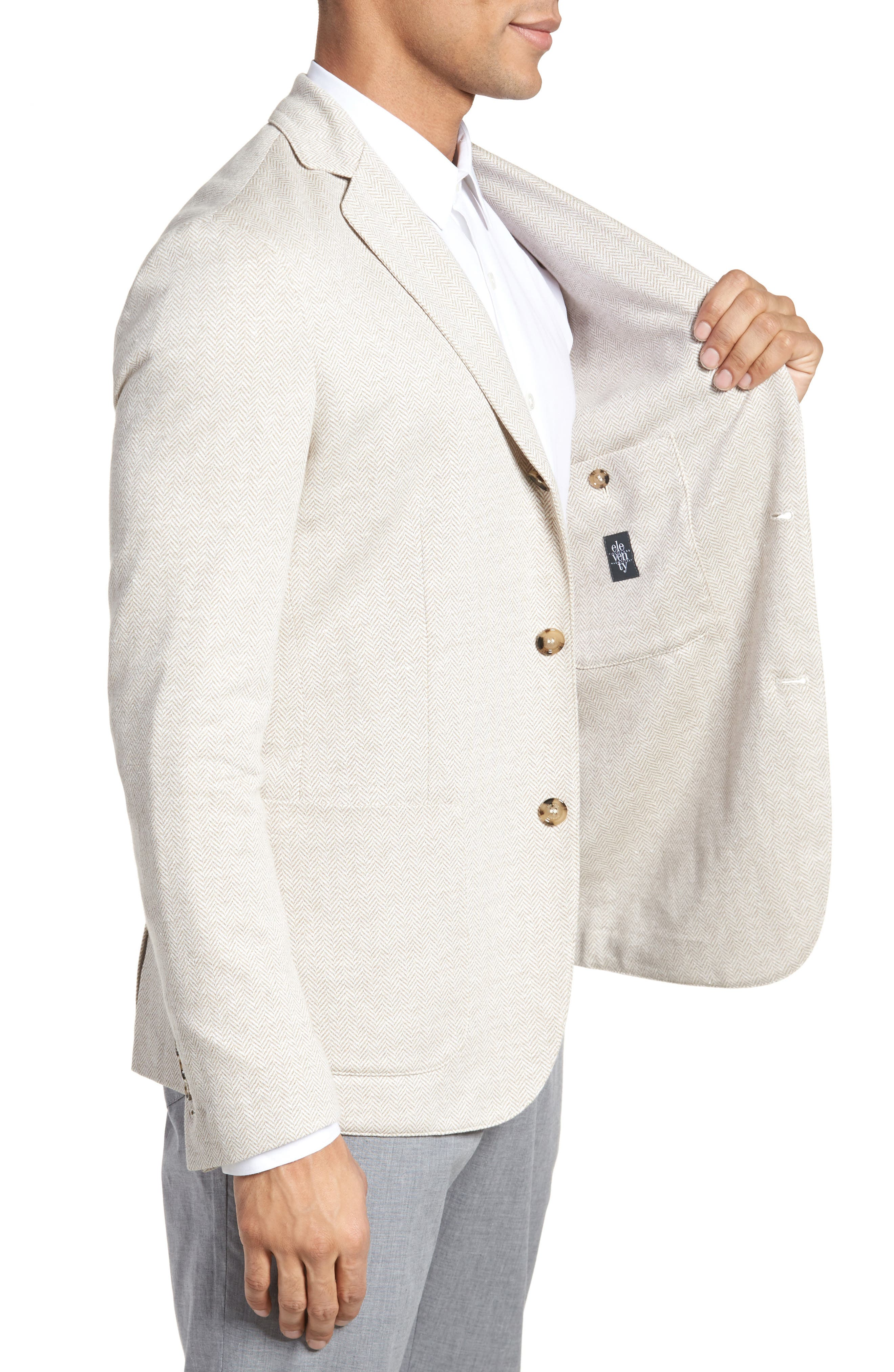 Trim Fit Herringbone Linen & Cotton Jacket,                             Alternate thumbnail 3, color,                             Sand