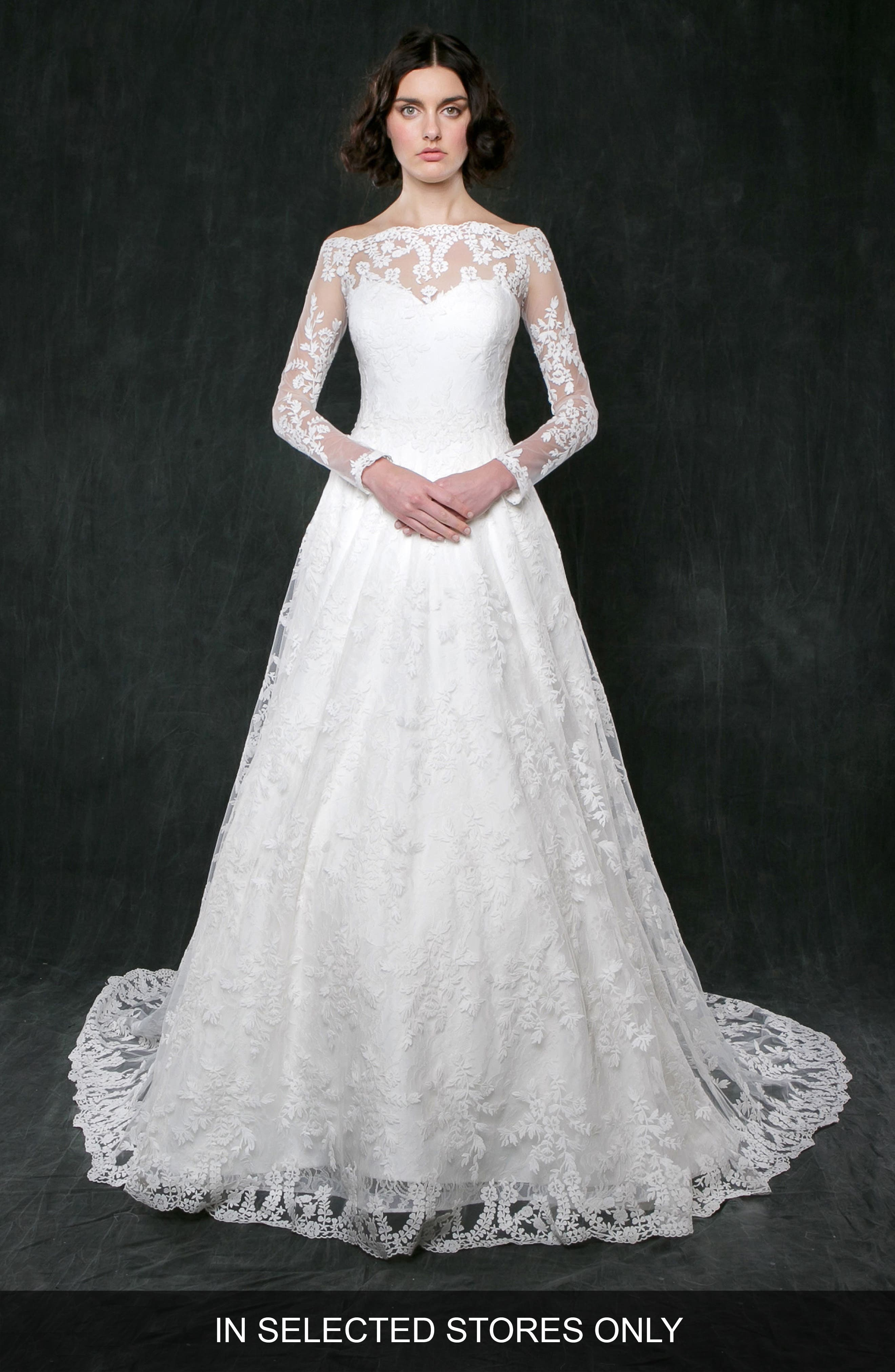 Lily of the Valley Long Sleeve Lace Gown,                             Main thumbnail 1, color,                             Ivory