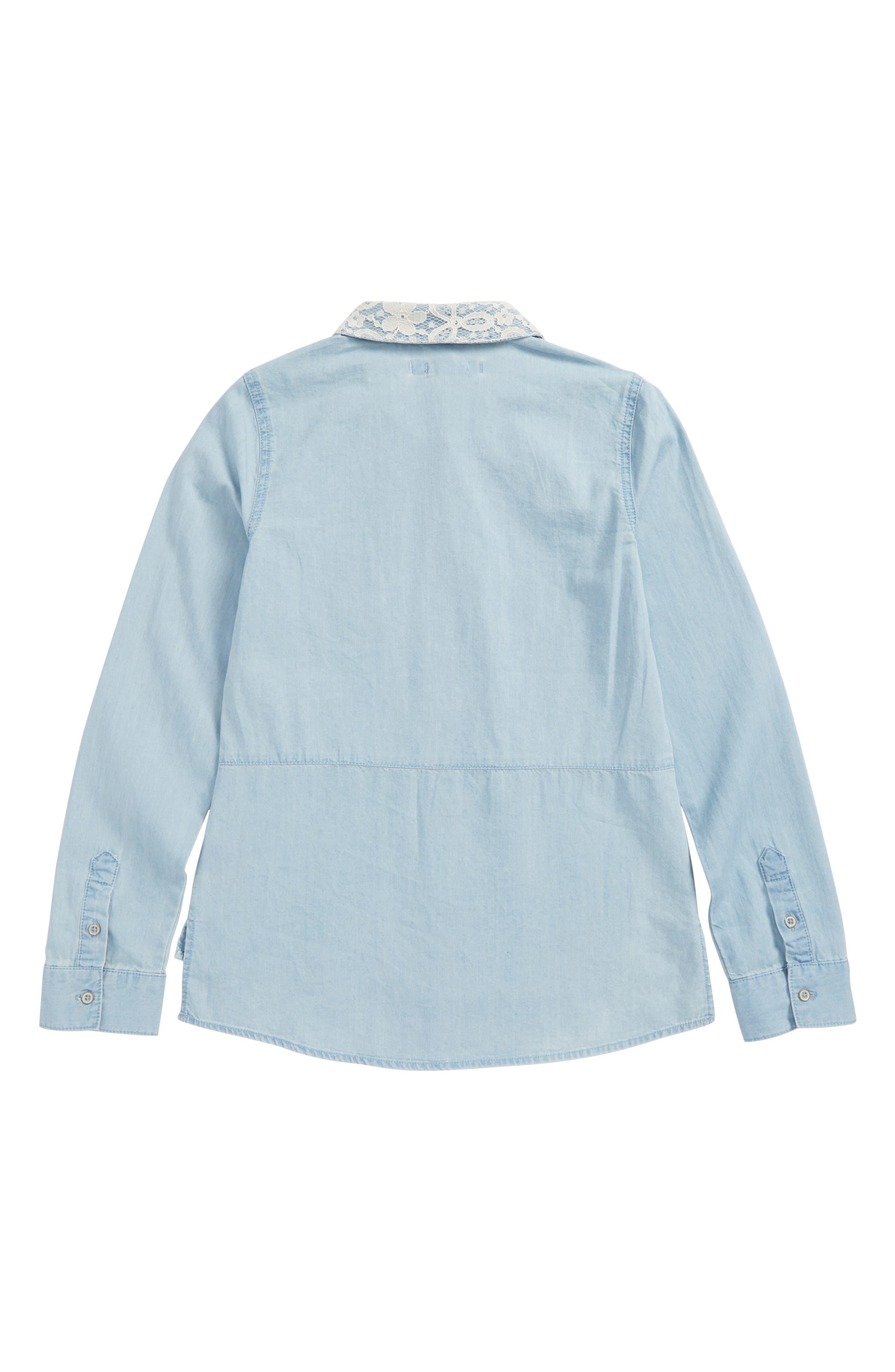 Lace Trim Chambray Shirt,                             Alternate thumbnail 2, color,                             Medium Wash