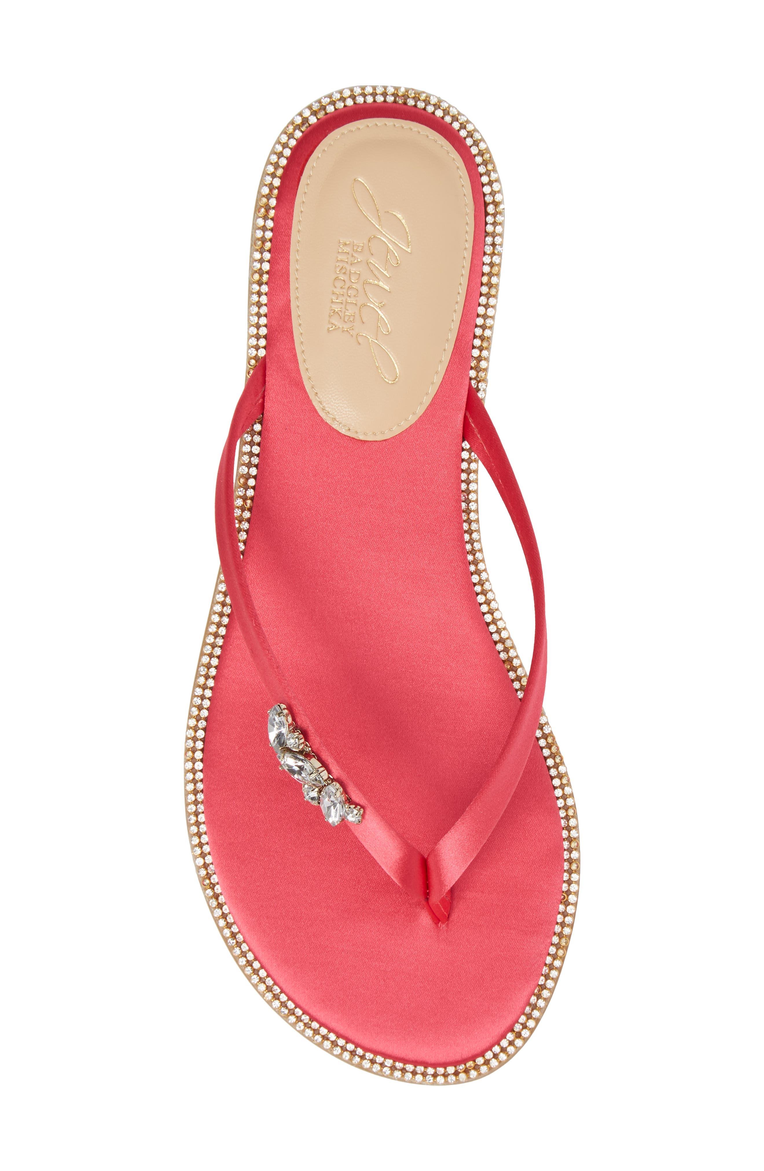 Thalia Crystal Embellished Flip Flop,                             Alternate thumbnail 5, color,                             Pink Leather