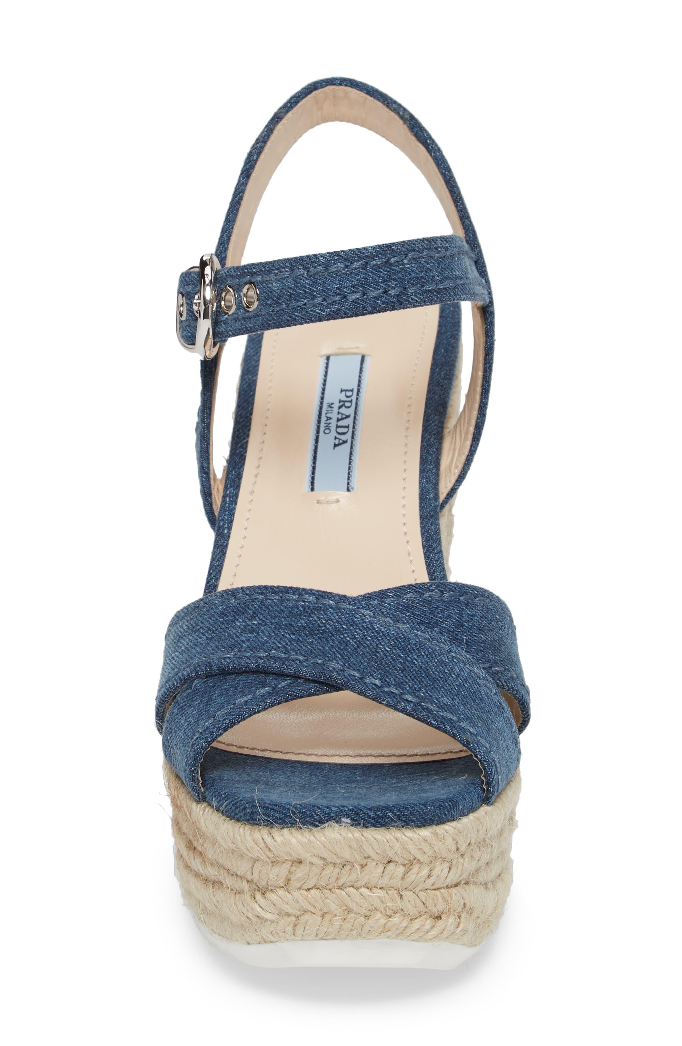 Espadrille Wedge Sandal,                             Alternate thumbnail 4, color,                             Blue