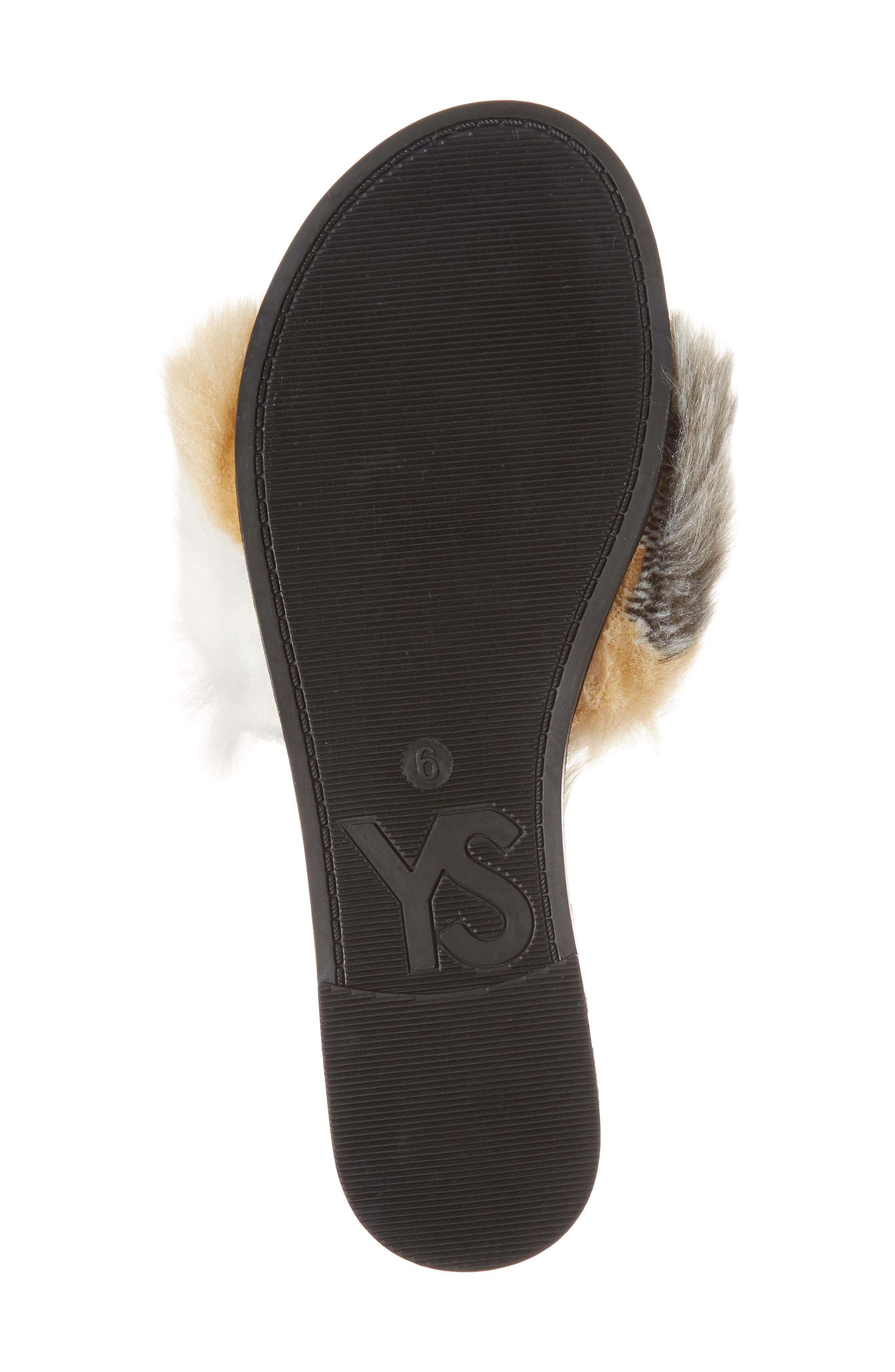 Rose Faux Fur Slide Sandal,                             Alternate thumbnail 6, color,                             Natural/ Black Faux Fur