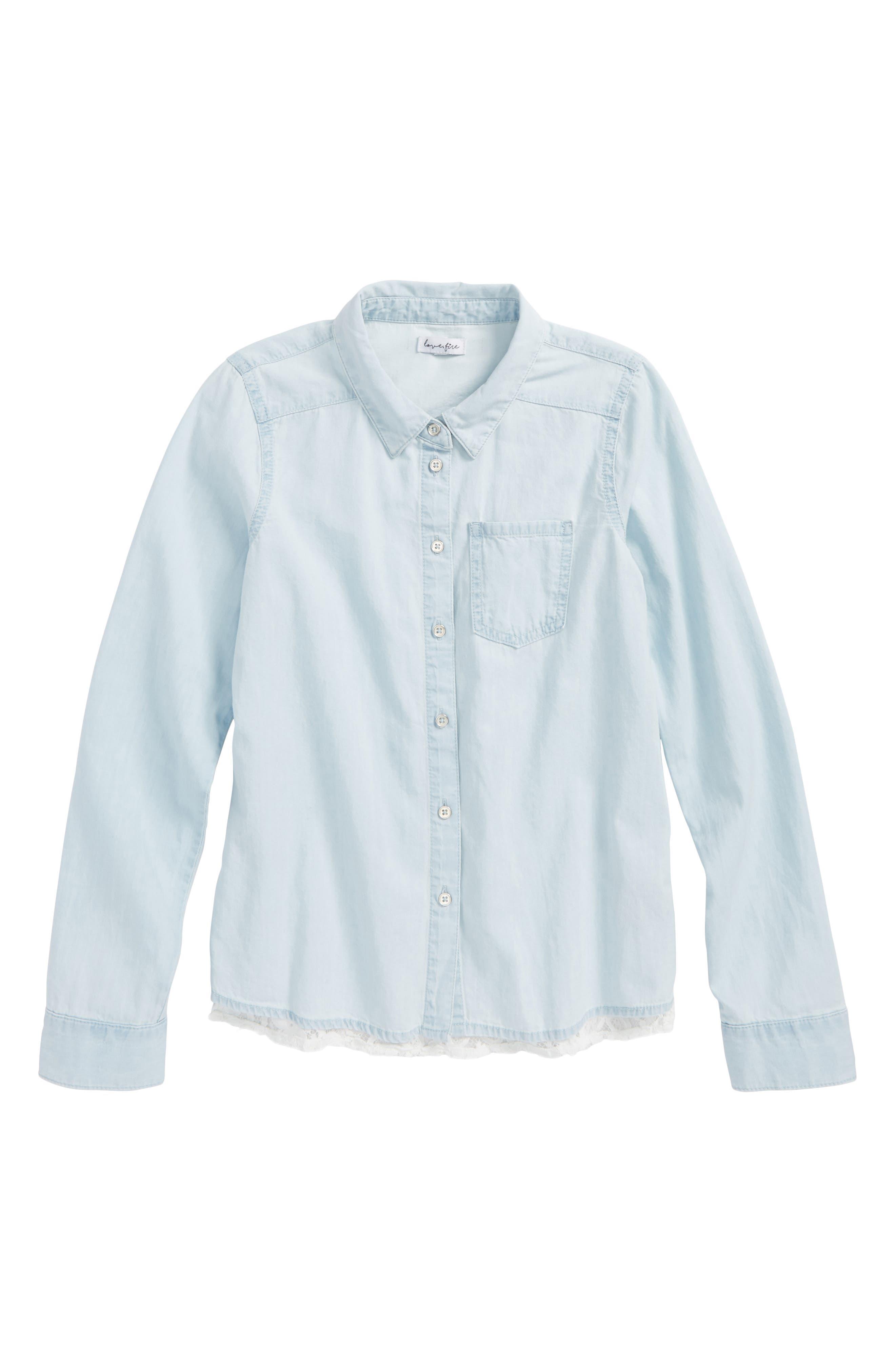 Chambray Lace Trim Shirt,                             Main thumbnail 1, color,                             Light Wash