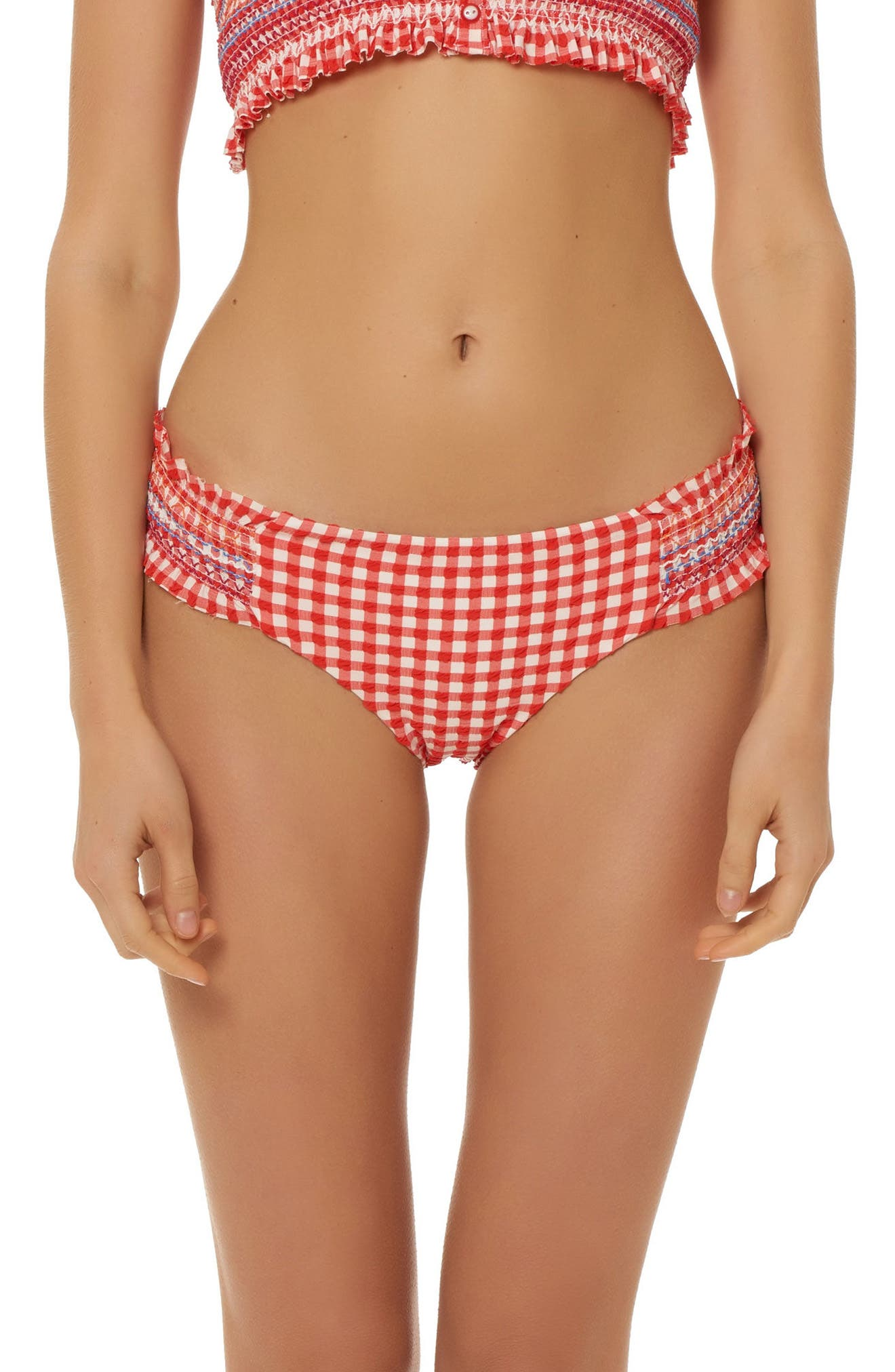 Smocked Waist Hipster Bikini Bottoms,                             Main thumbnail 1, color,                             Red