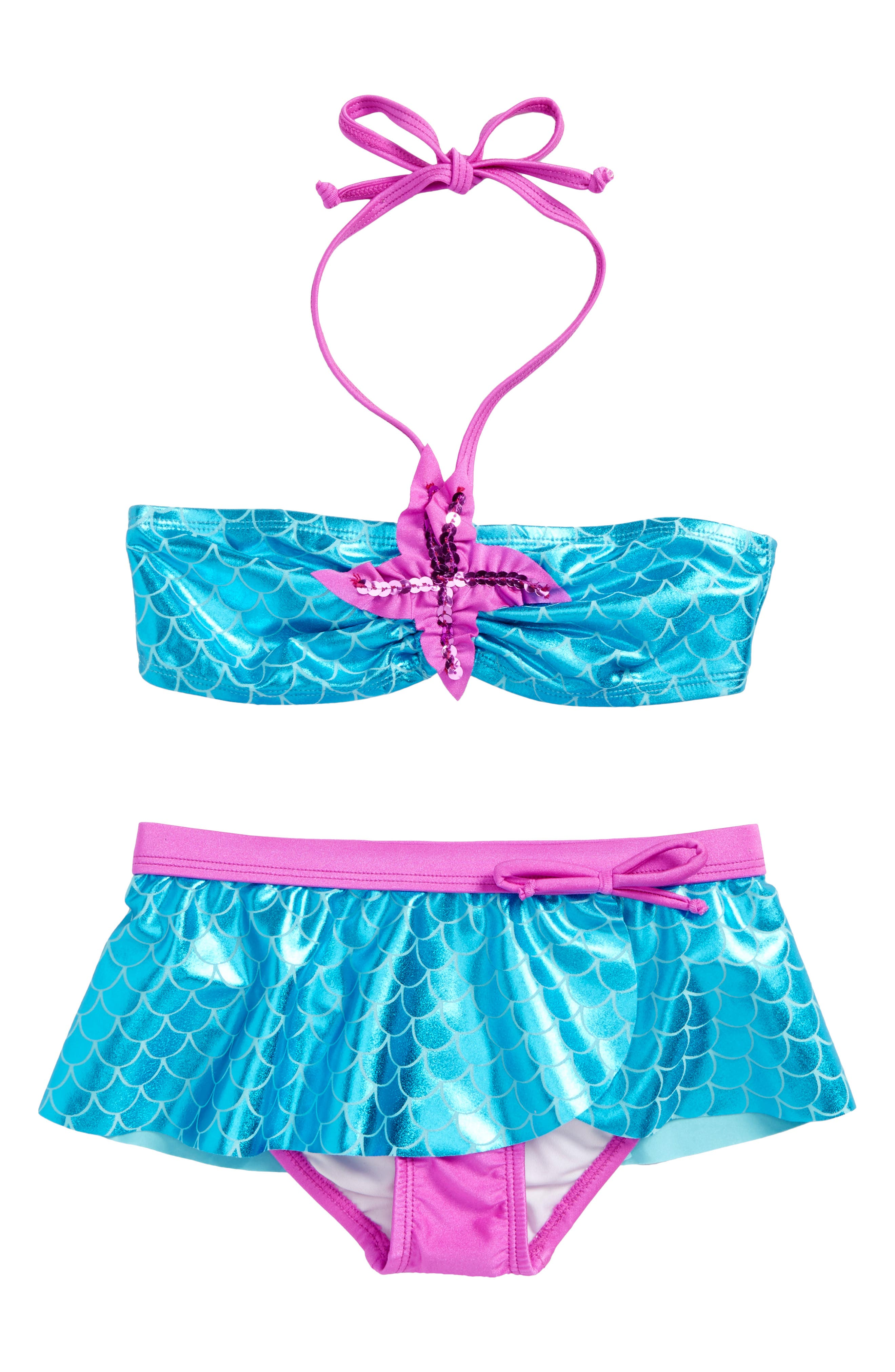 Alternate Image 1 Selected - Love U Lots Mermaid Two-Piece Bikini Swimsuit (Toddler Girls & Little Girls)