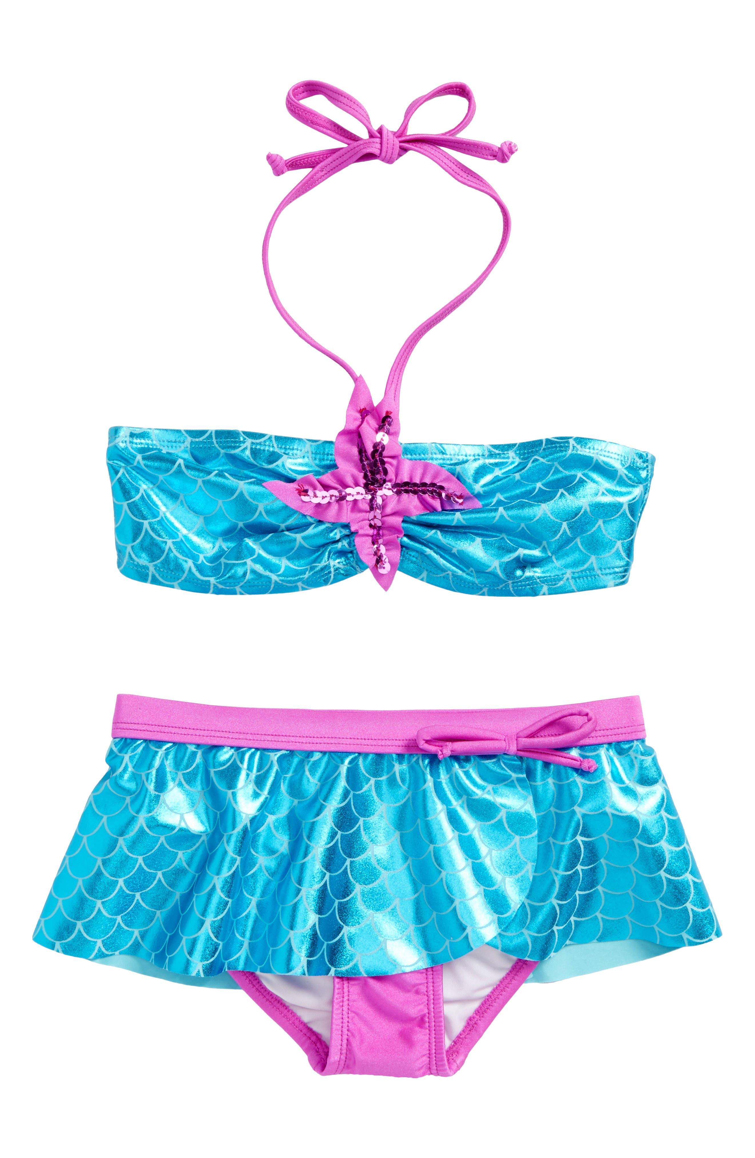 Main Image - Love U Lots Mermaid Two-Piece Bikini Swimsuit (Toddler Girls & Little Girls)