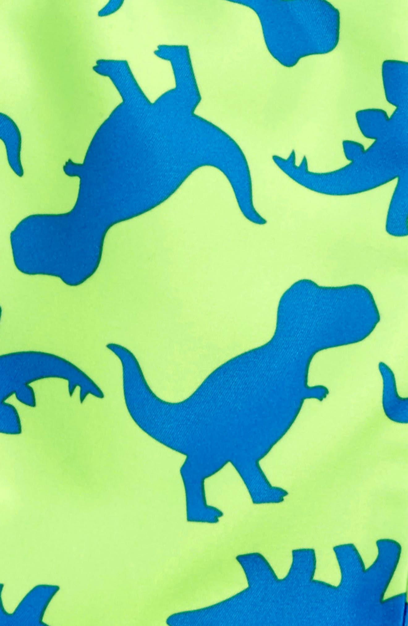 Dino UPF 50+ Swim Trunks,                             Alternate thumbnail 2, color,                             Green Multi