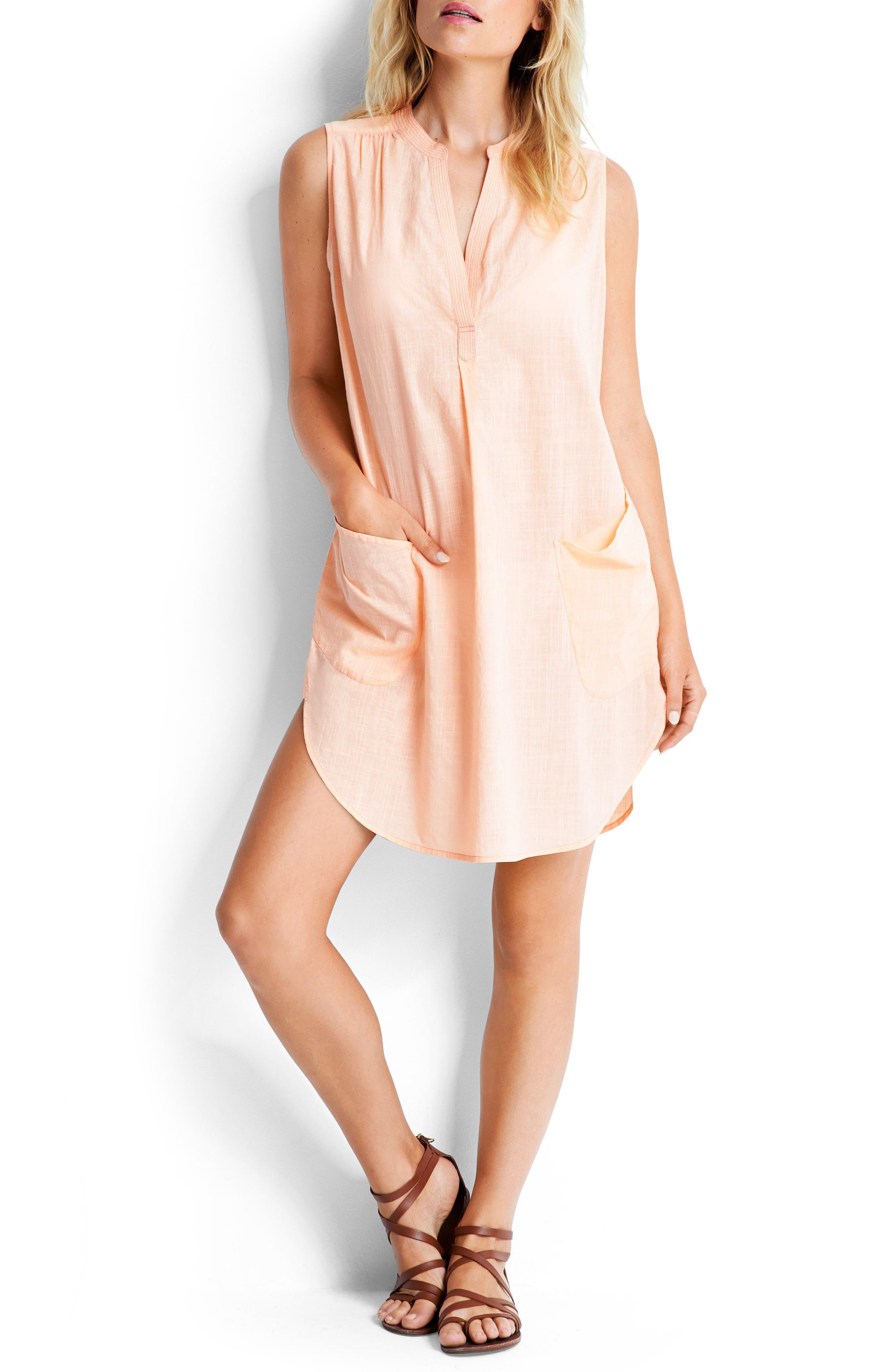 Palm Beach Cover-Up Dress,                             Alternate thumbnail 7, color,                             Peach Melba