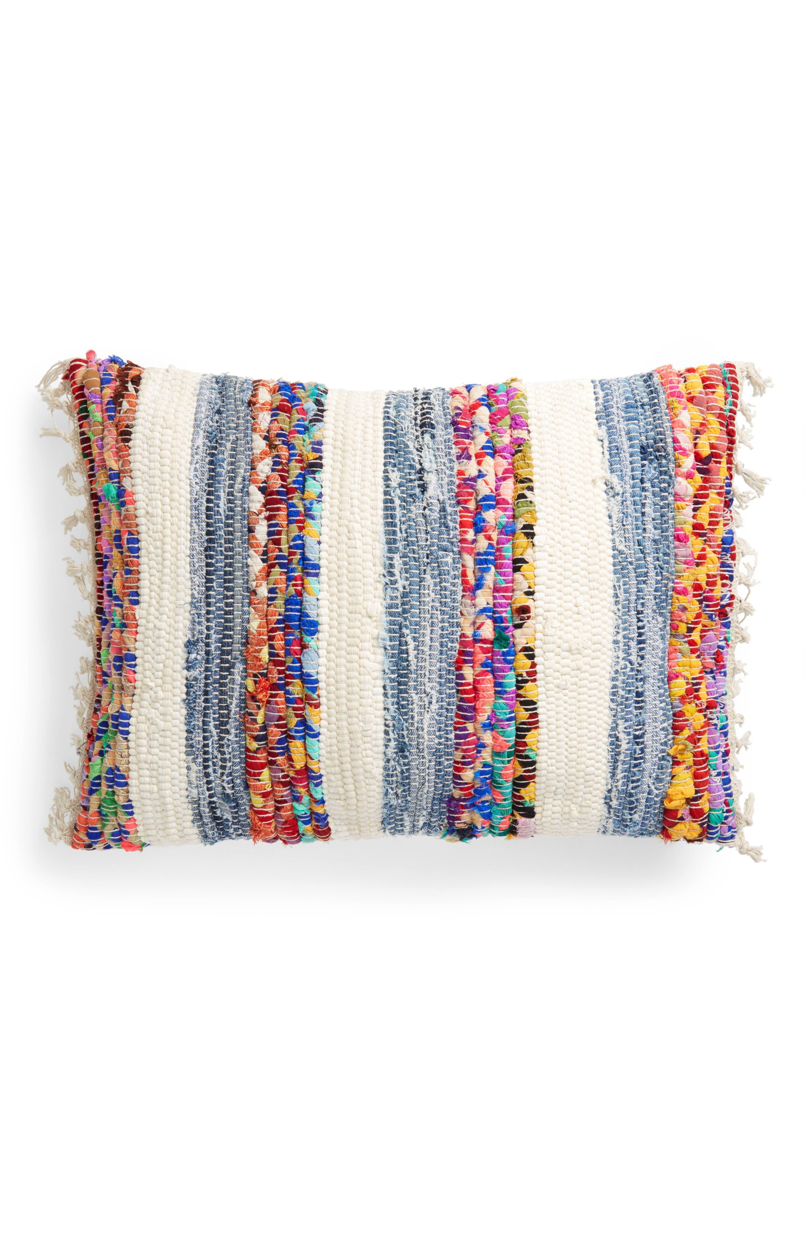 Denim Stripe Accent Pillow,                         Main,                         color, Multi
