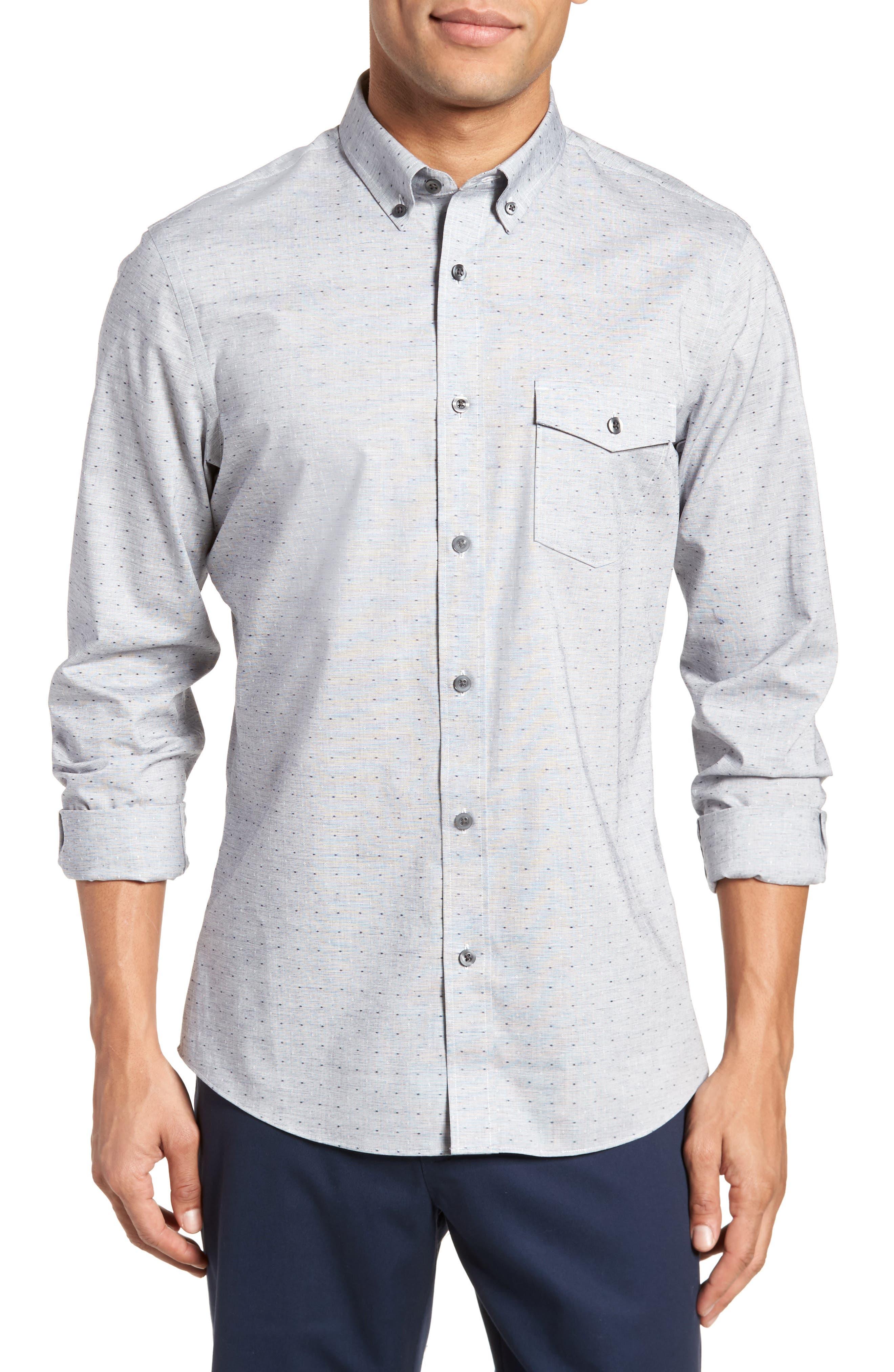 Trim Fit Dobby Sport Shirt,                             Main thumbnail 1, color,                             Navy White Eoe Dobby