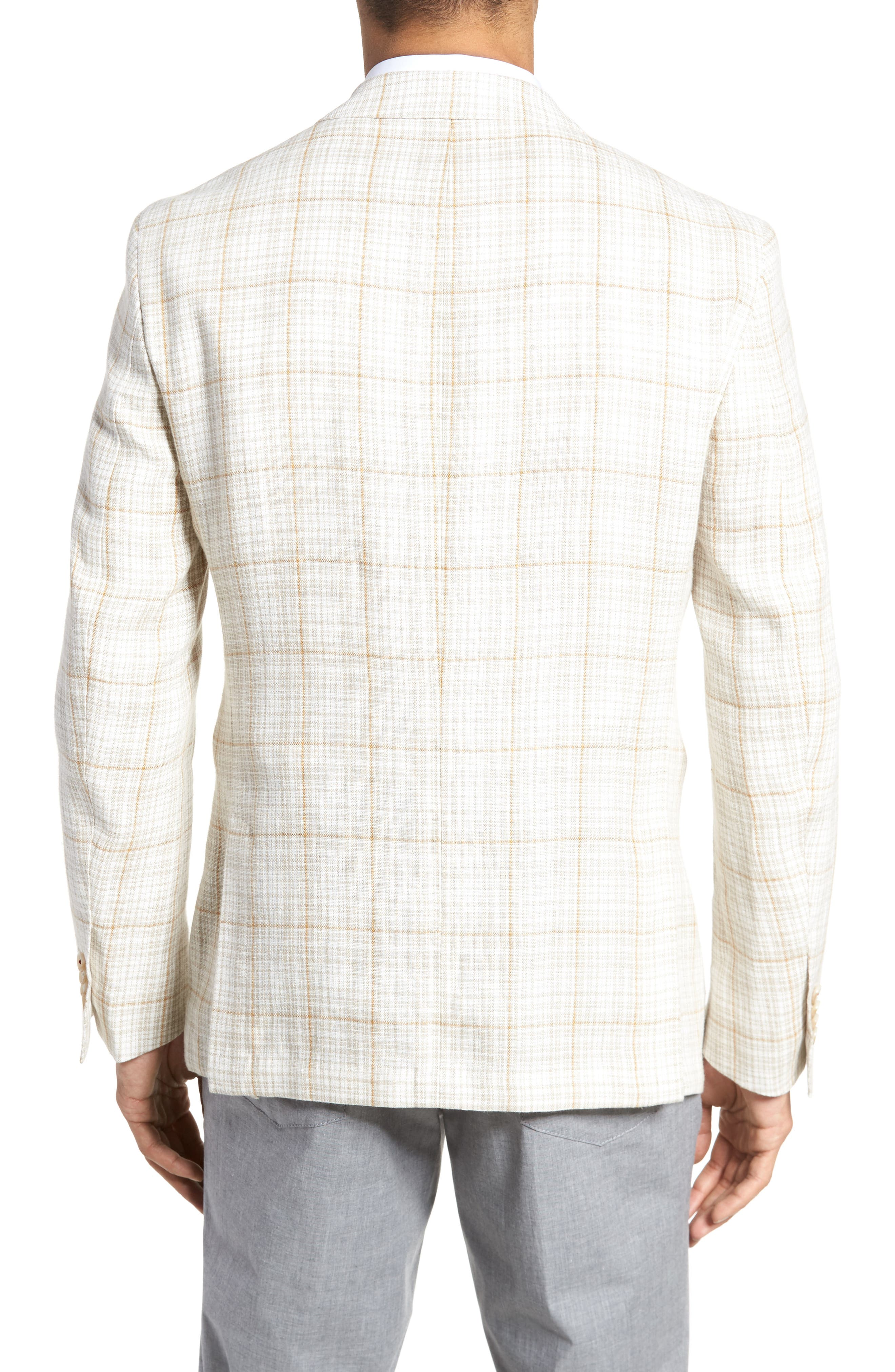 Trent Trim Fit Plaid Linen Sport Coat,                             Alternate thumbnail 2, color,                             Light Cream