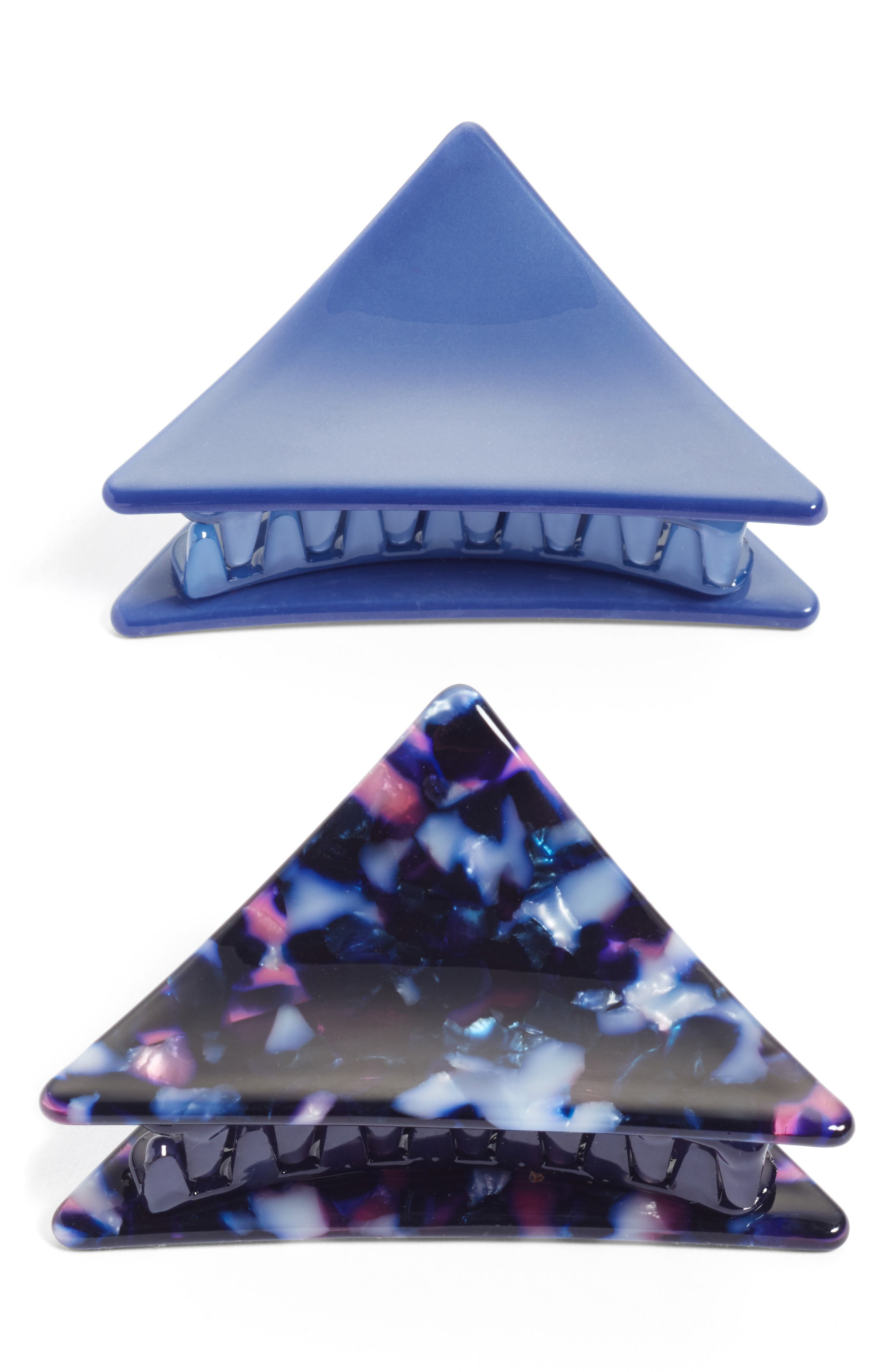 Set of 2 Triangle Jaw Clips,                         Main,                         color, Blue Combo
