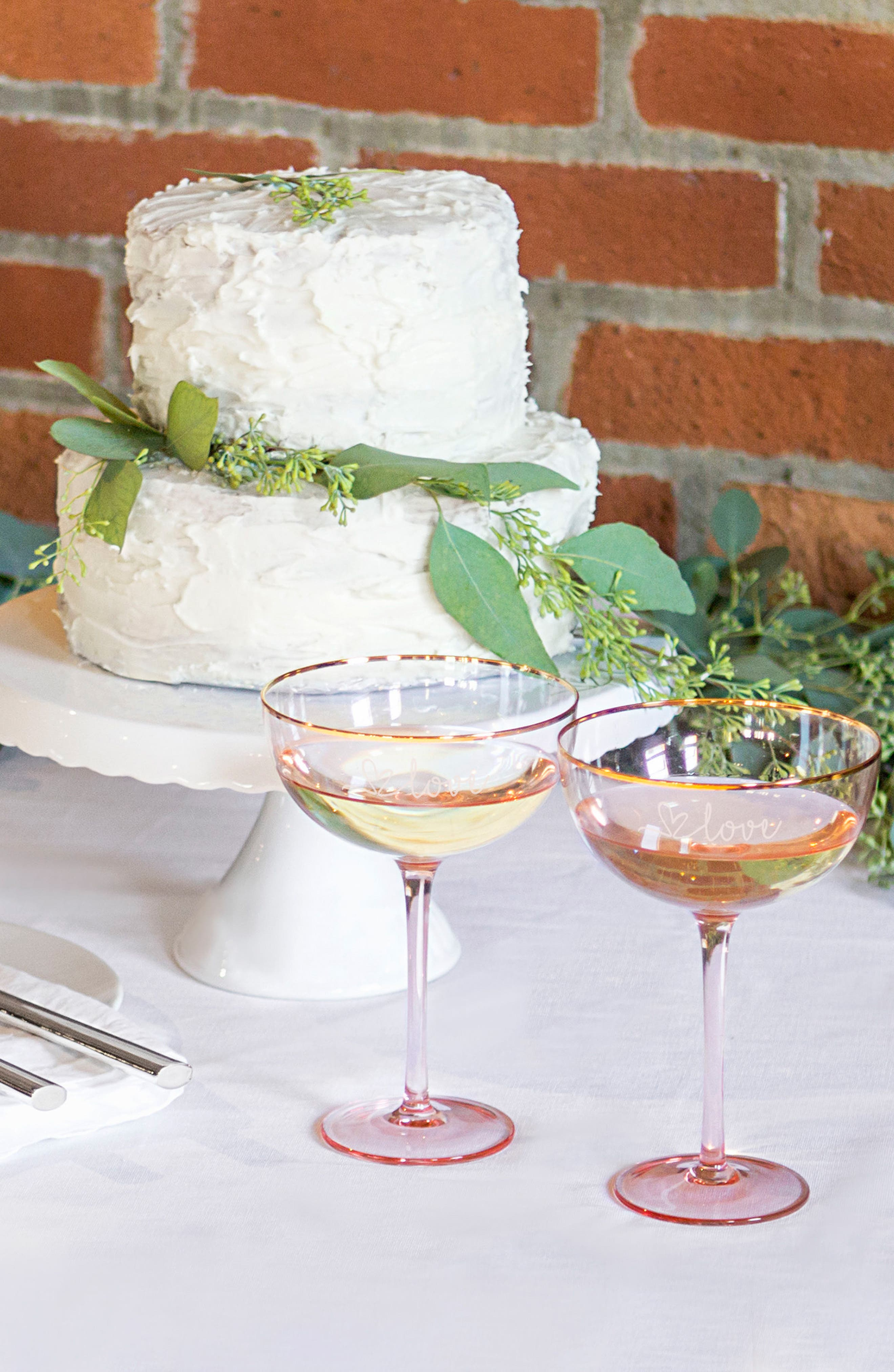 Love Champagne Coupes and Cake Serving Set,                             Alternate thumbnail 2, color,                             Blush
