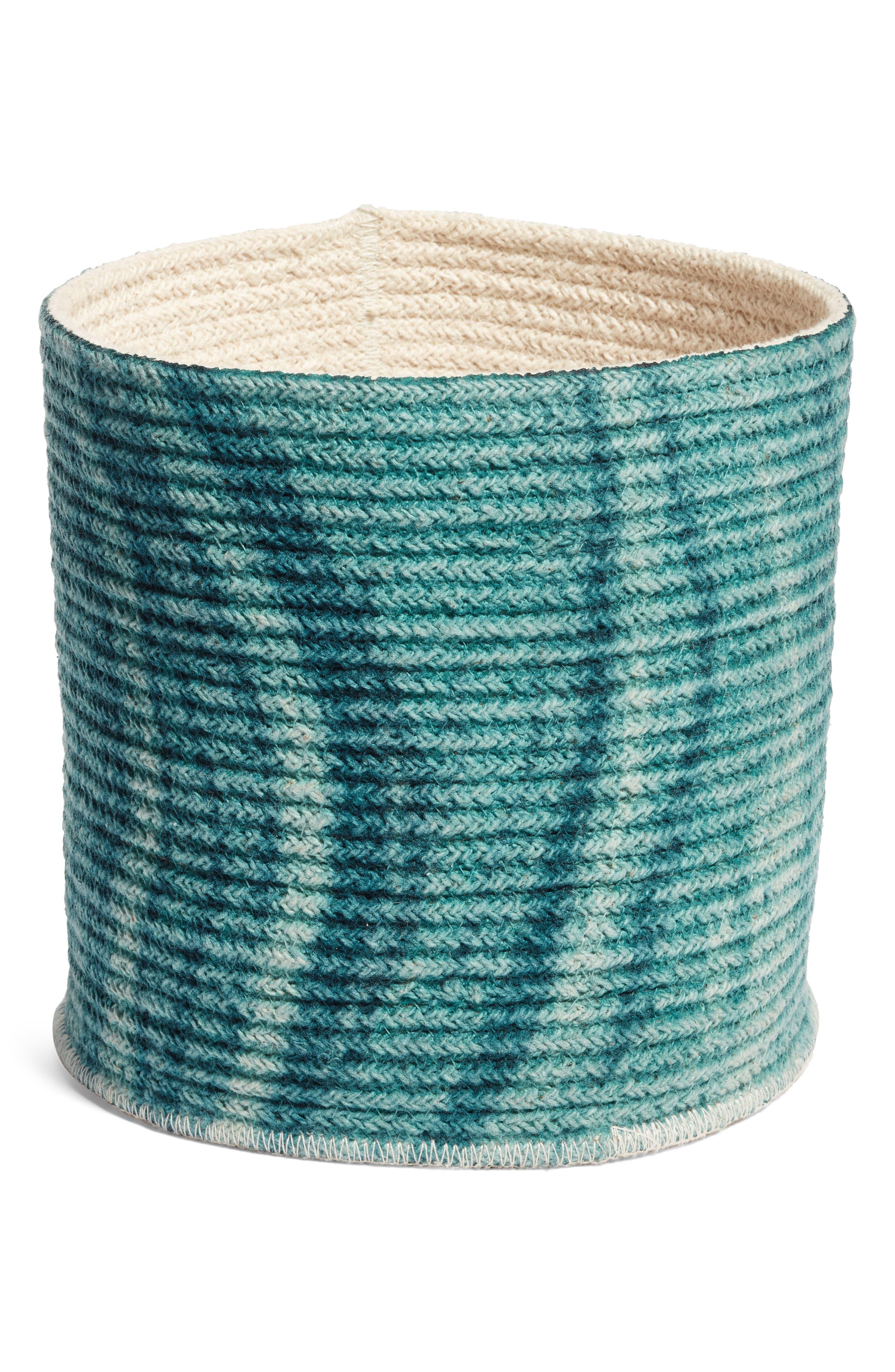 Oceana Woven Basket,                             Main thumbnail 1, color,                             Teal Hydro