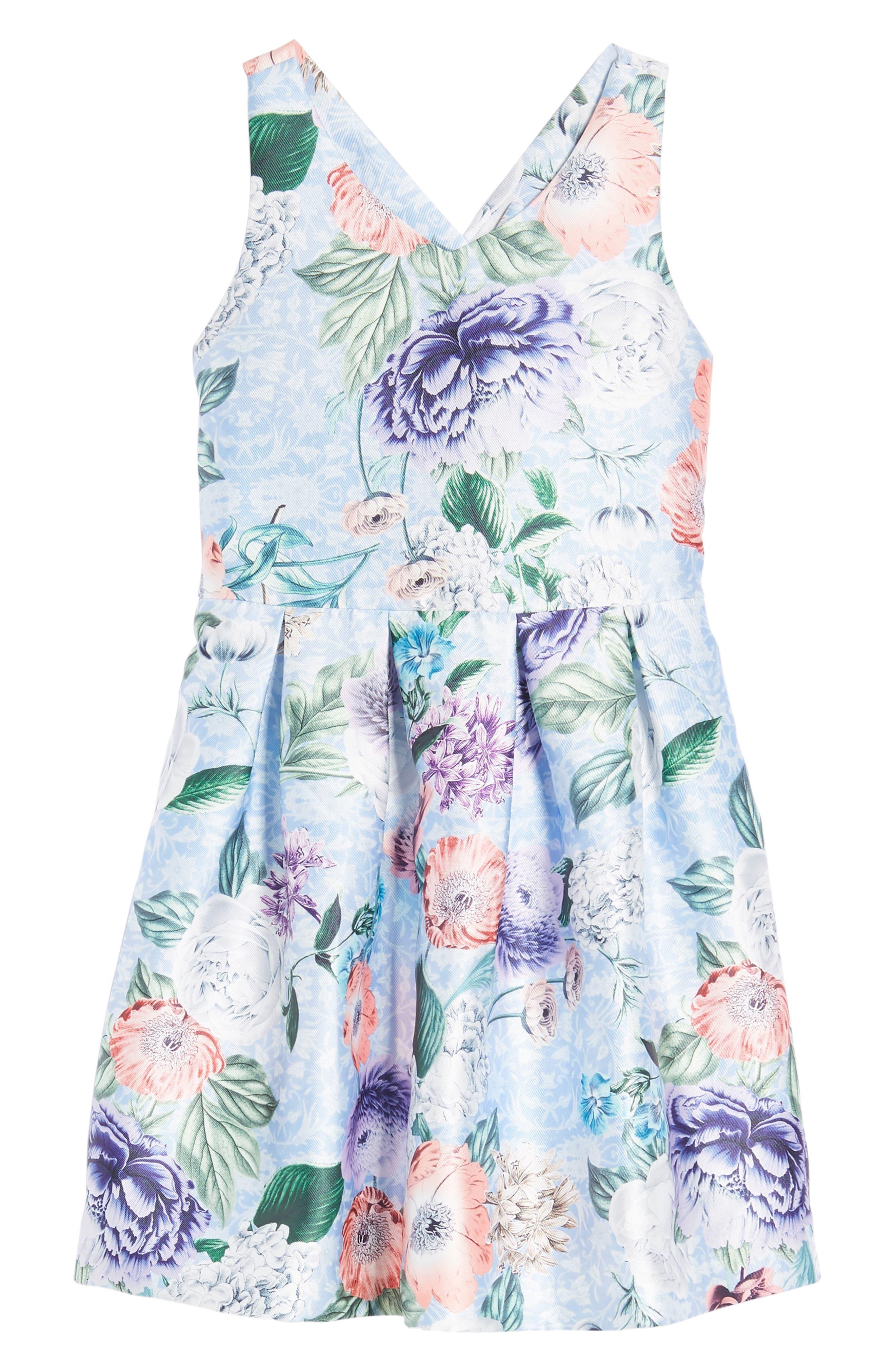 Floral Cross Back Dress,                         Main,                         color, Blue Multi