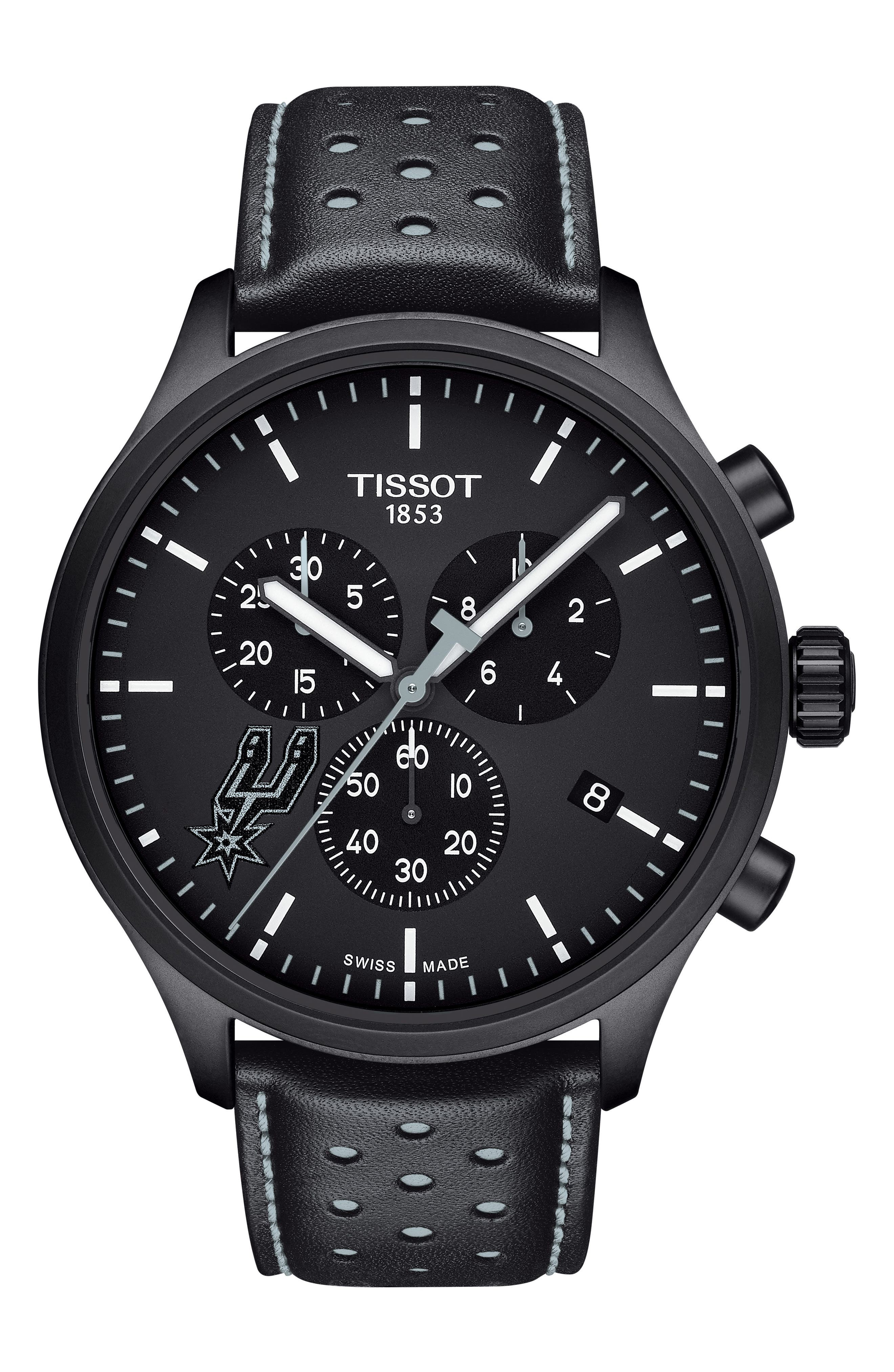 Chrono XL NBA Leather Strap Watch, 45mm,                         Main,                         color, Black/ Grey