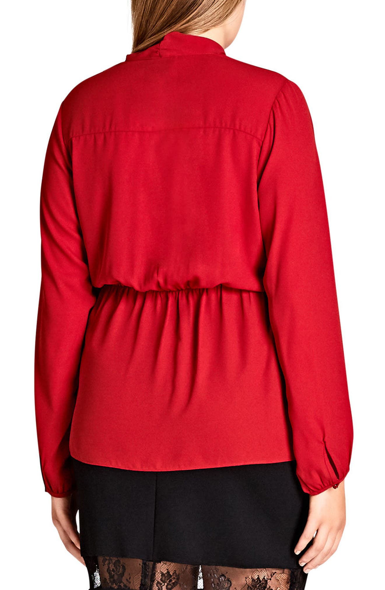 Knot Front Top,                             Alternate thumbnail 2, color,                             Red Rose