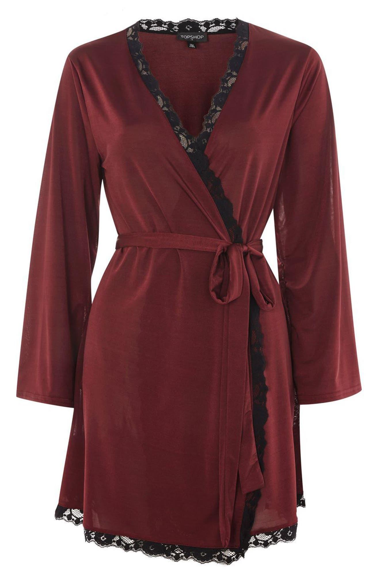 Satin Jersey Robe,                             Alternate thumbnail 4, color,                             Berry Multi