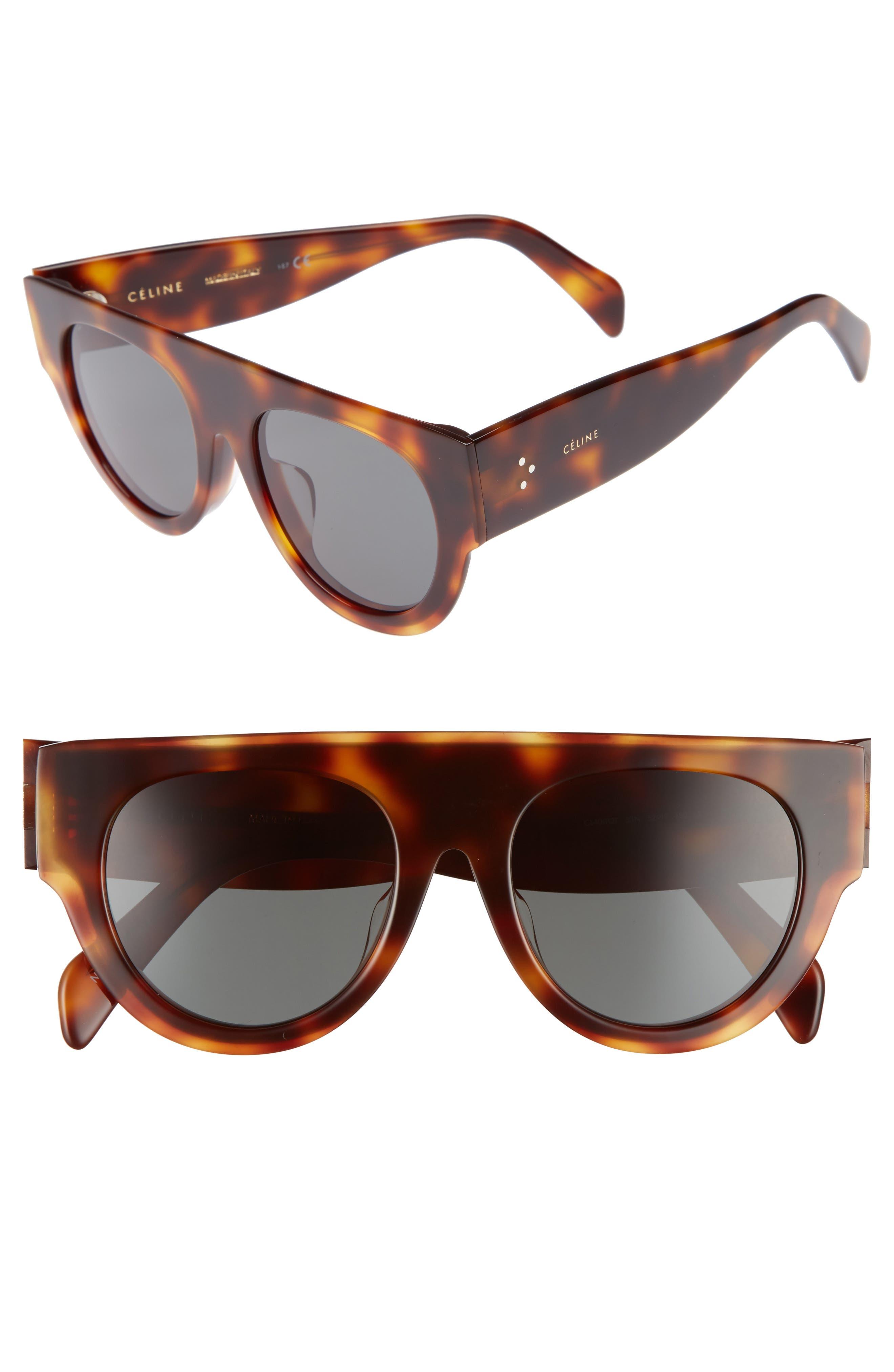 52mm Pilot Sunglasses,                         Main,                         color, Blonde Havana/ Green