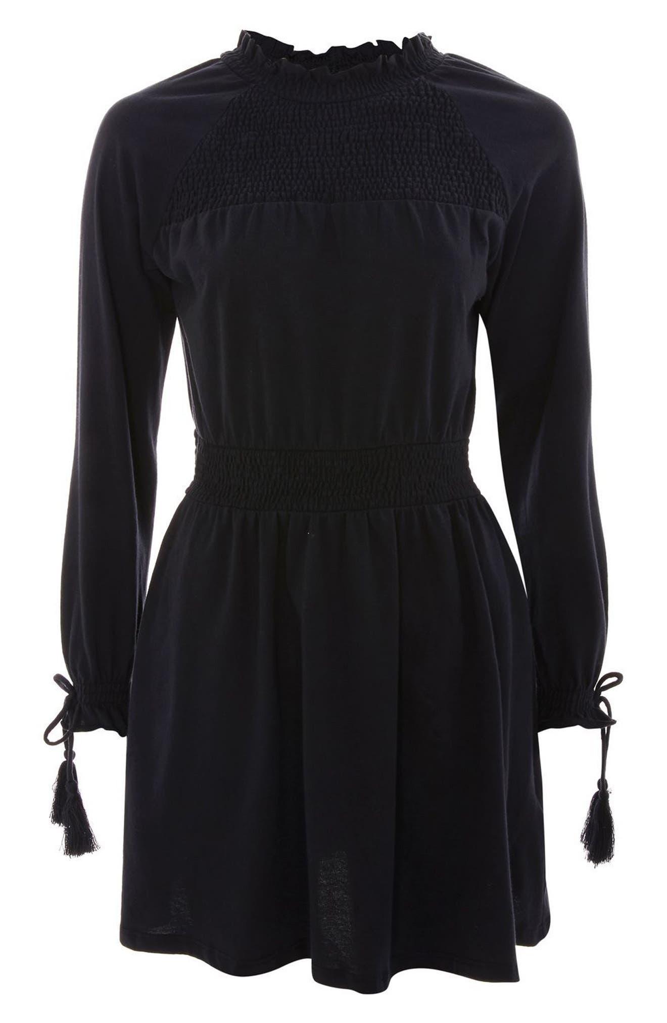 Ruffle Collar Smock Dress,                             Alternate thumbnail 4, color,                             Navy Blue