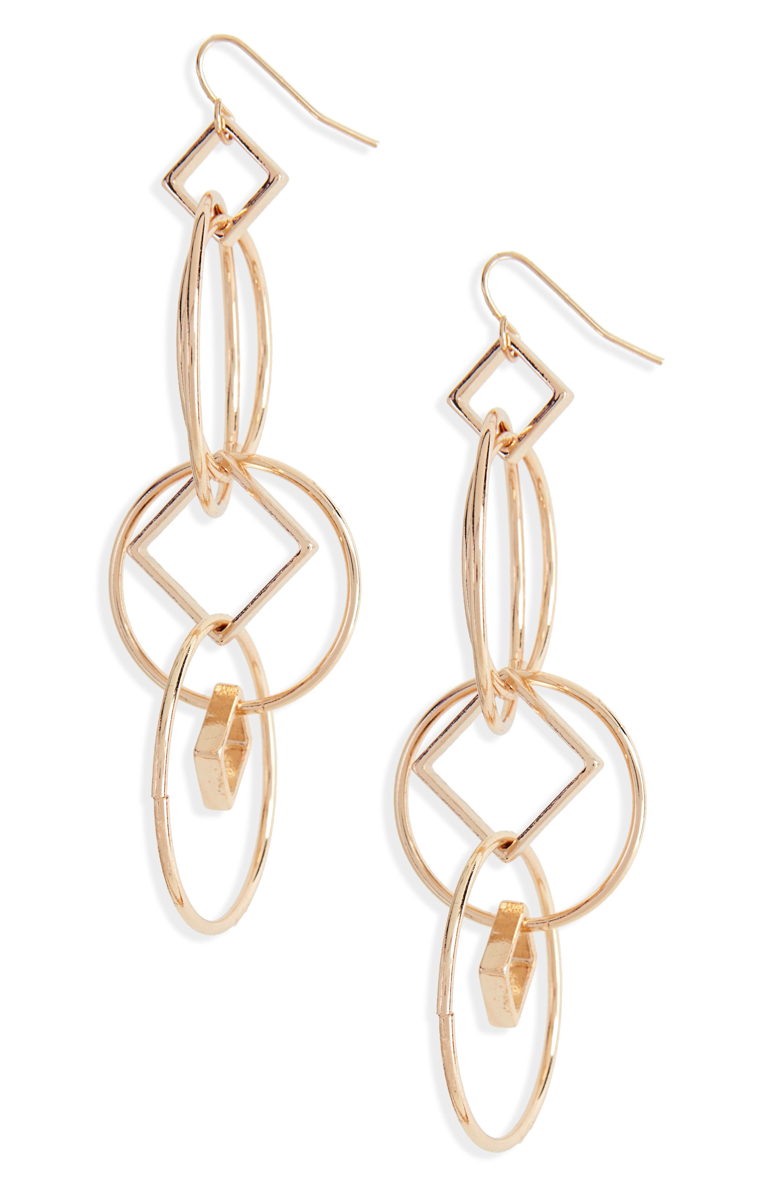 Geometric Drop Earrings,                         Main,                         color, Gold