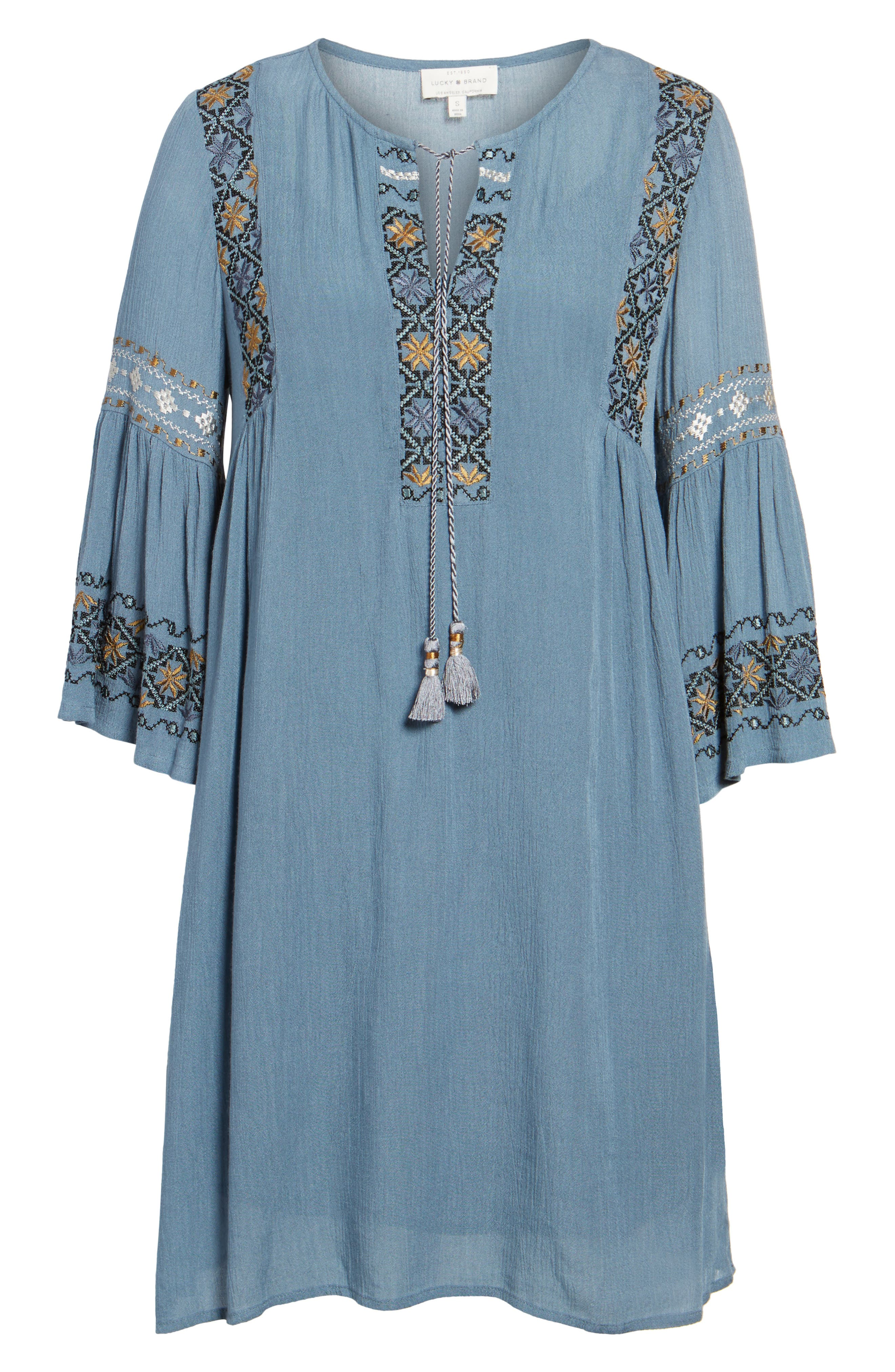 Embroidered Bell Sleeve Dress,                             Alternate thumbnail 6, color,                             China Blue