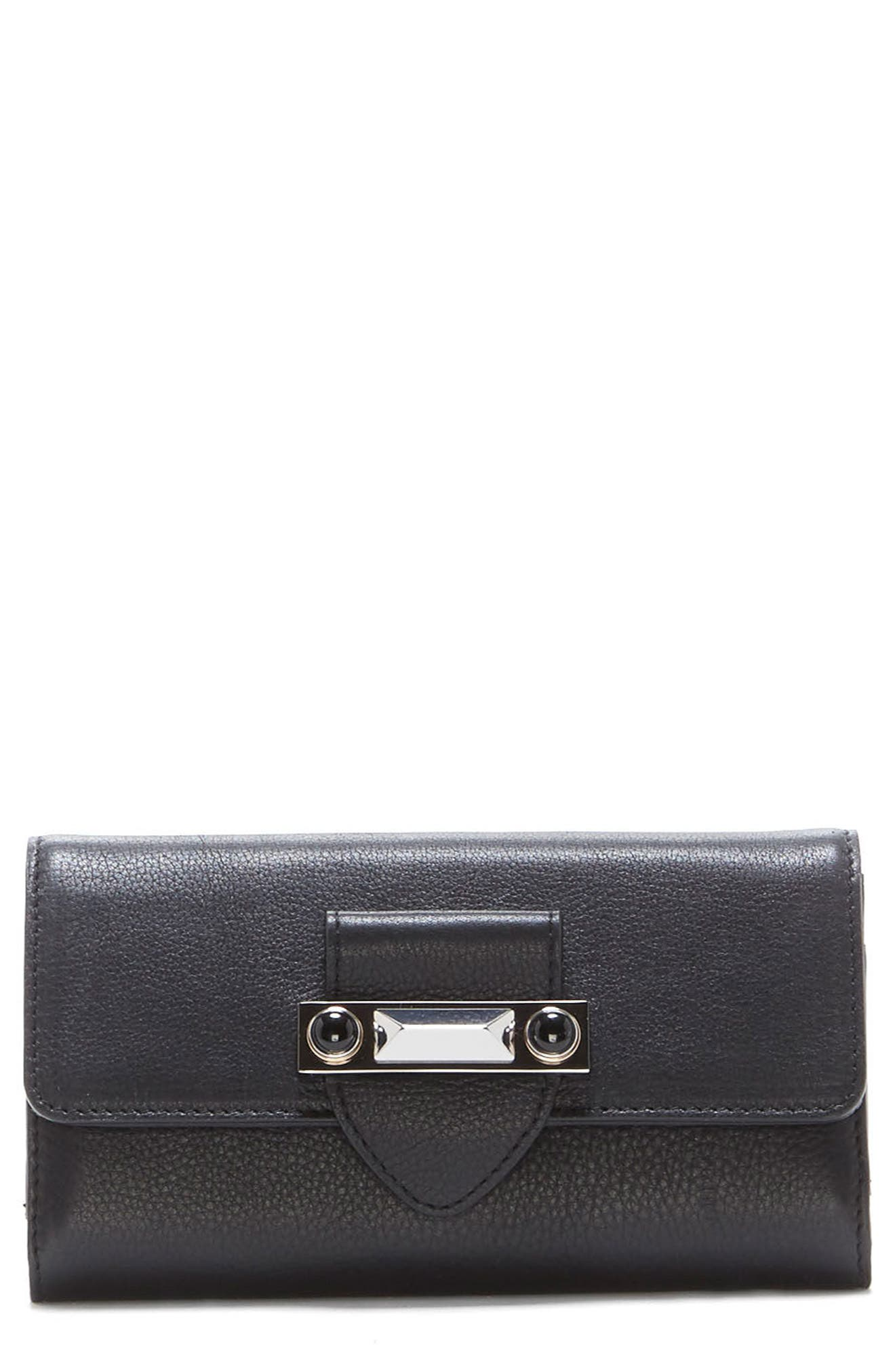 Bitty Leather Wallet,                         Main,                         color, Noir