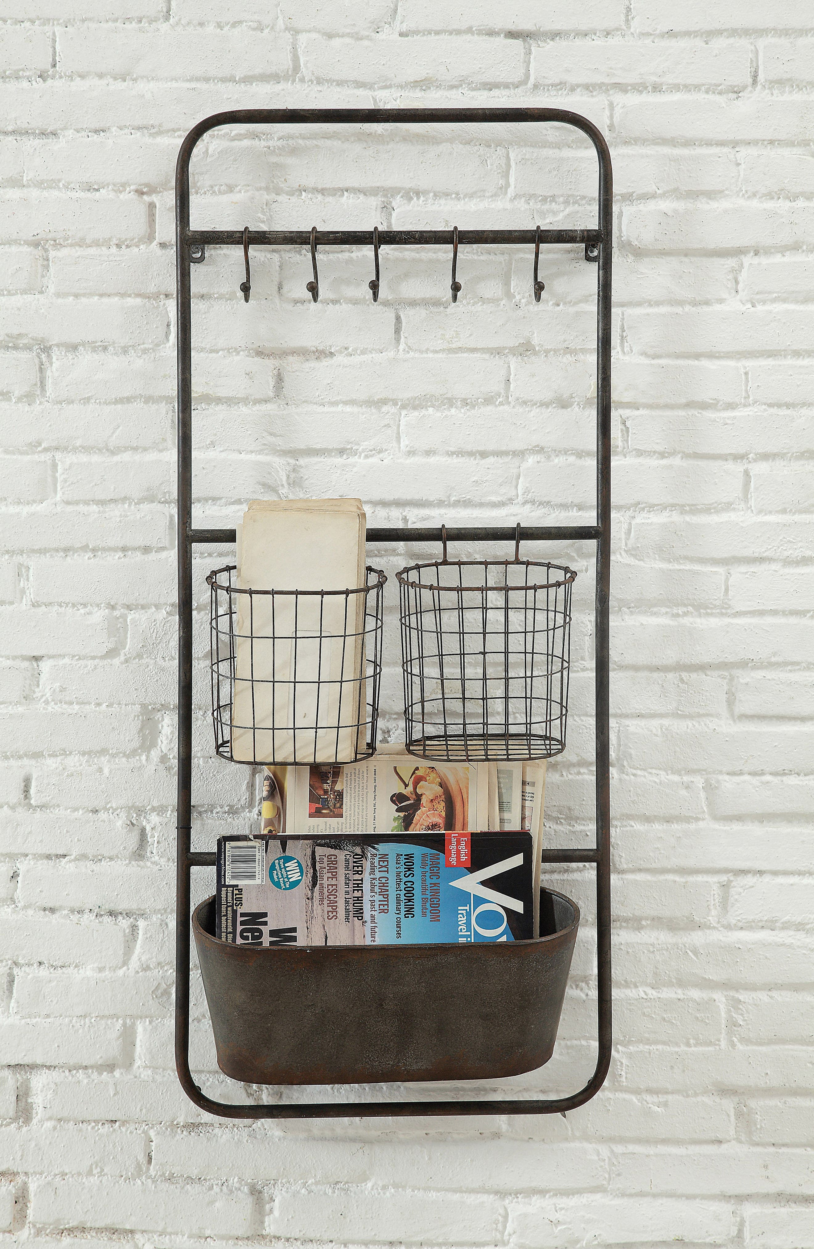 Wall Storage With Hooks & Baskets,                             Alternate thumbnail 2, color,                             Brown