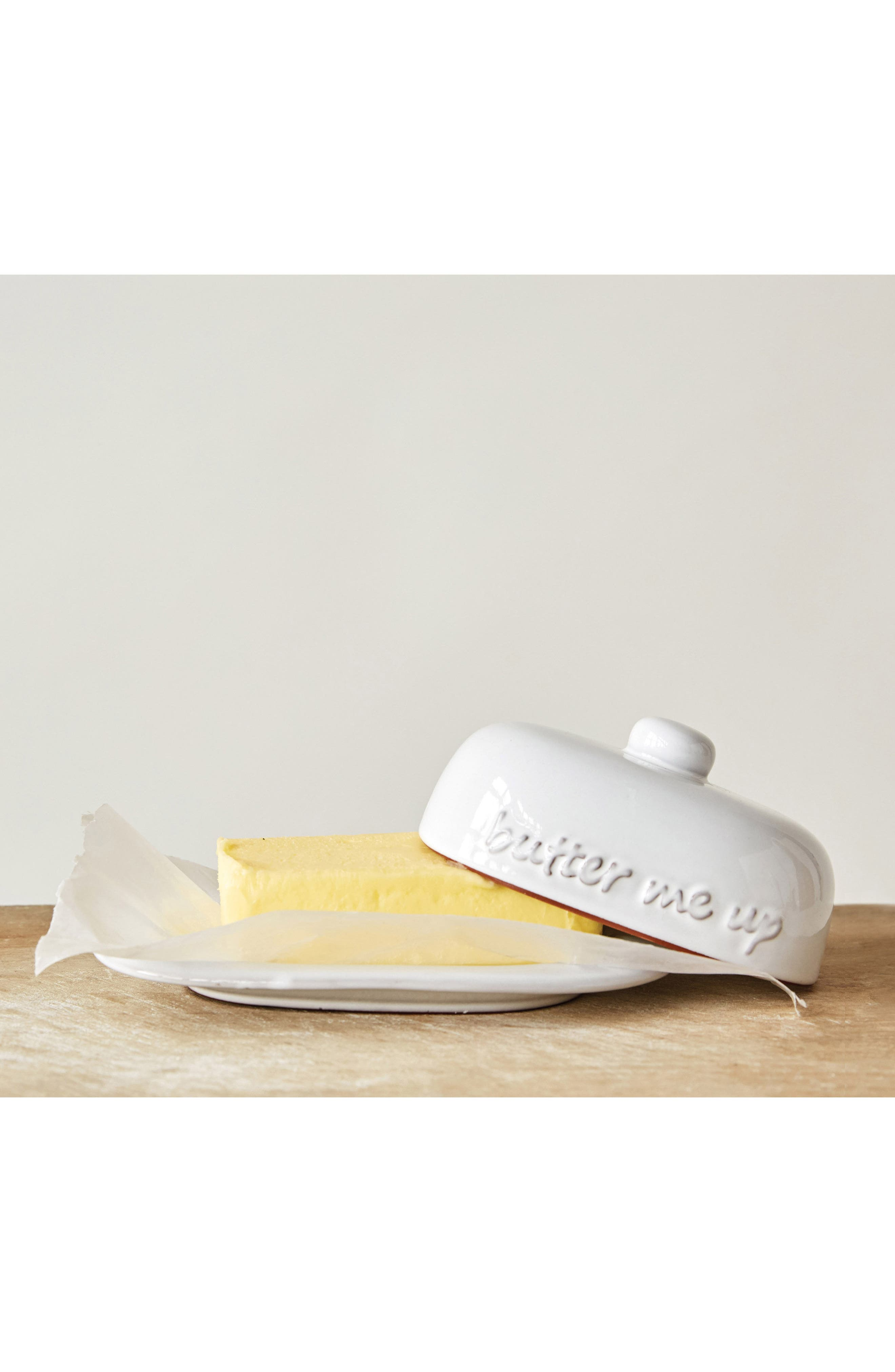 Butter Me Up Ceramic Butter Dish,                             Alternate thumbnail 2, color,                             White