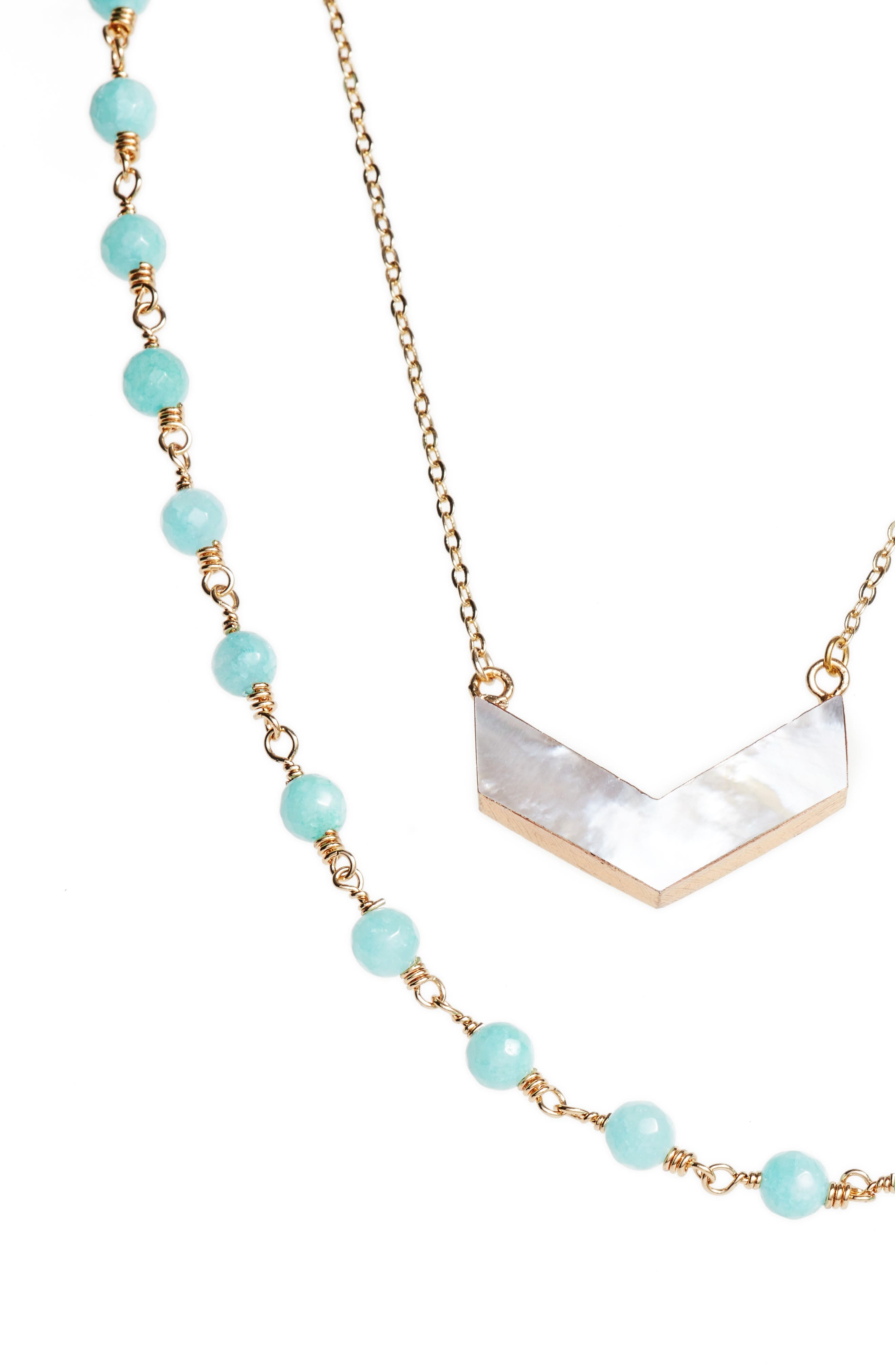 Julia Double Strand Necklace,                             Alternate thumbnail 2, color,                             Amazonite/ Pearl