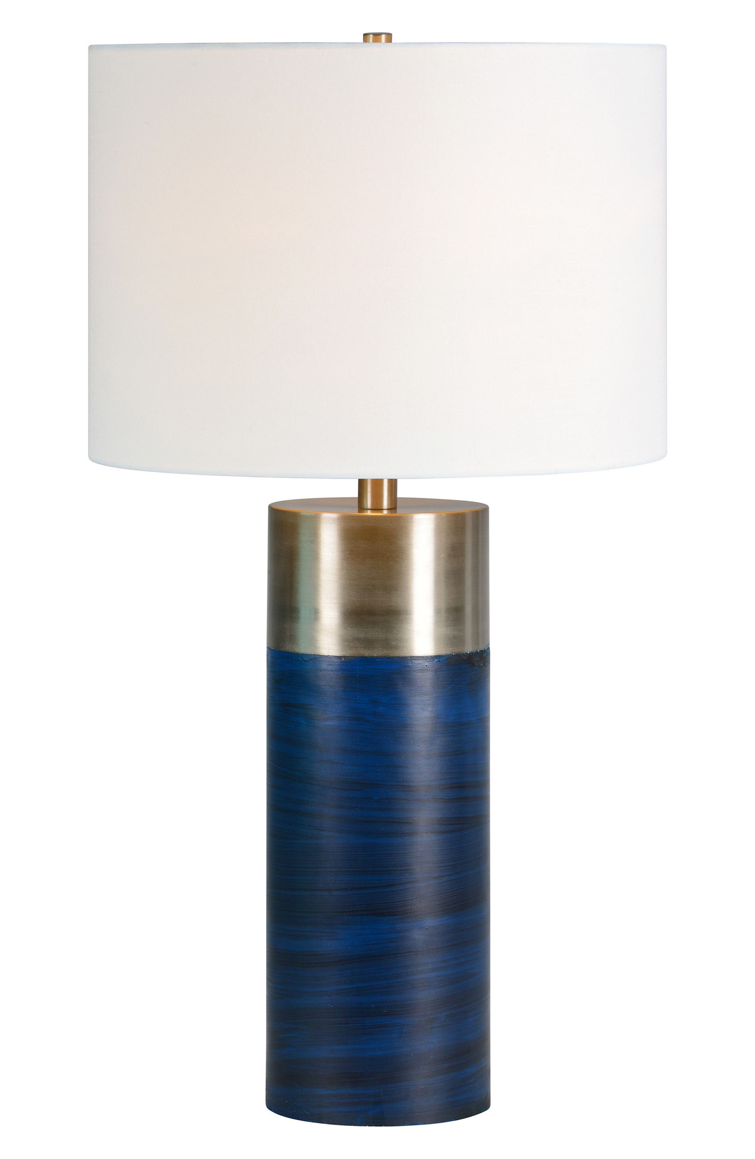 Glint Table Lamp,                         Main,                         color, Blue/ Satin Nickel
