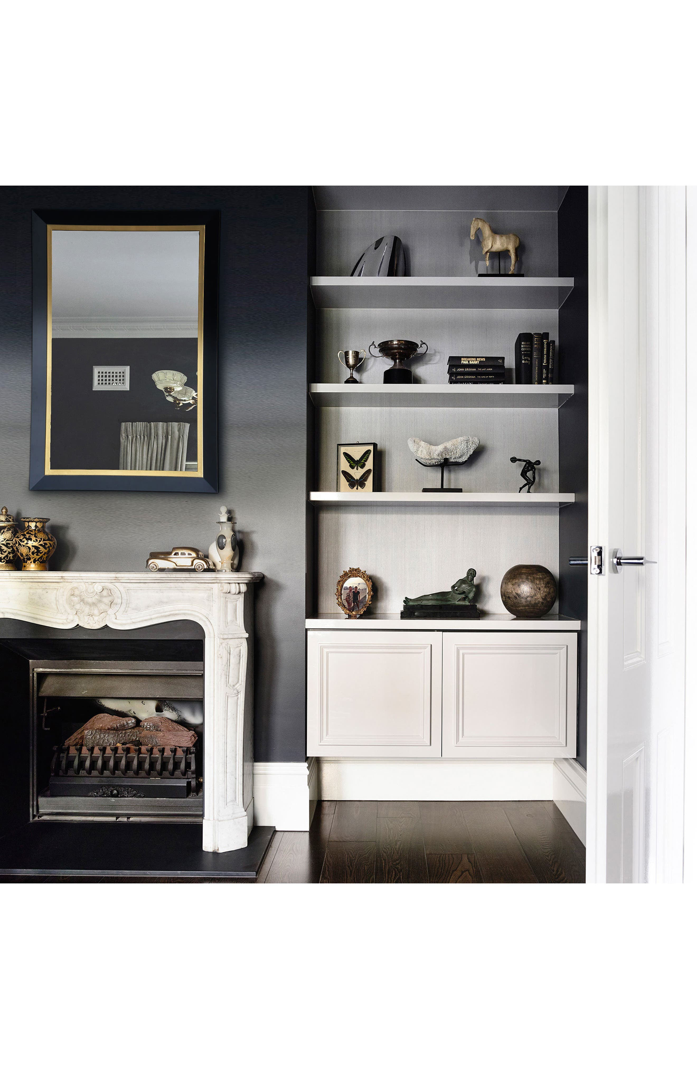 Beillings Mirror,                             Alternate thumbnail 3, color,                             Dark Grey And Antique Gold