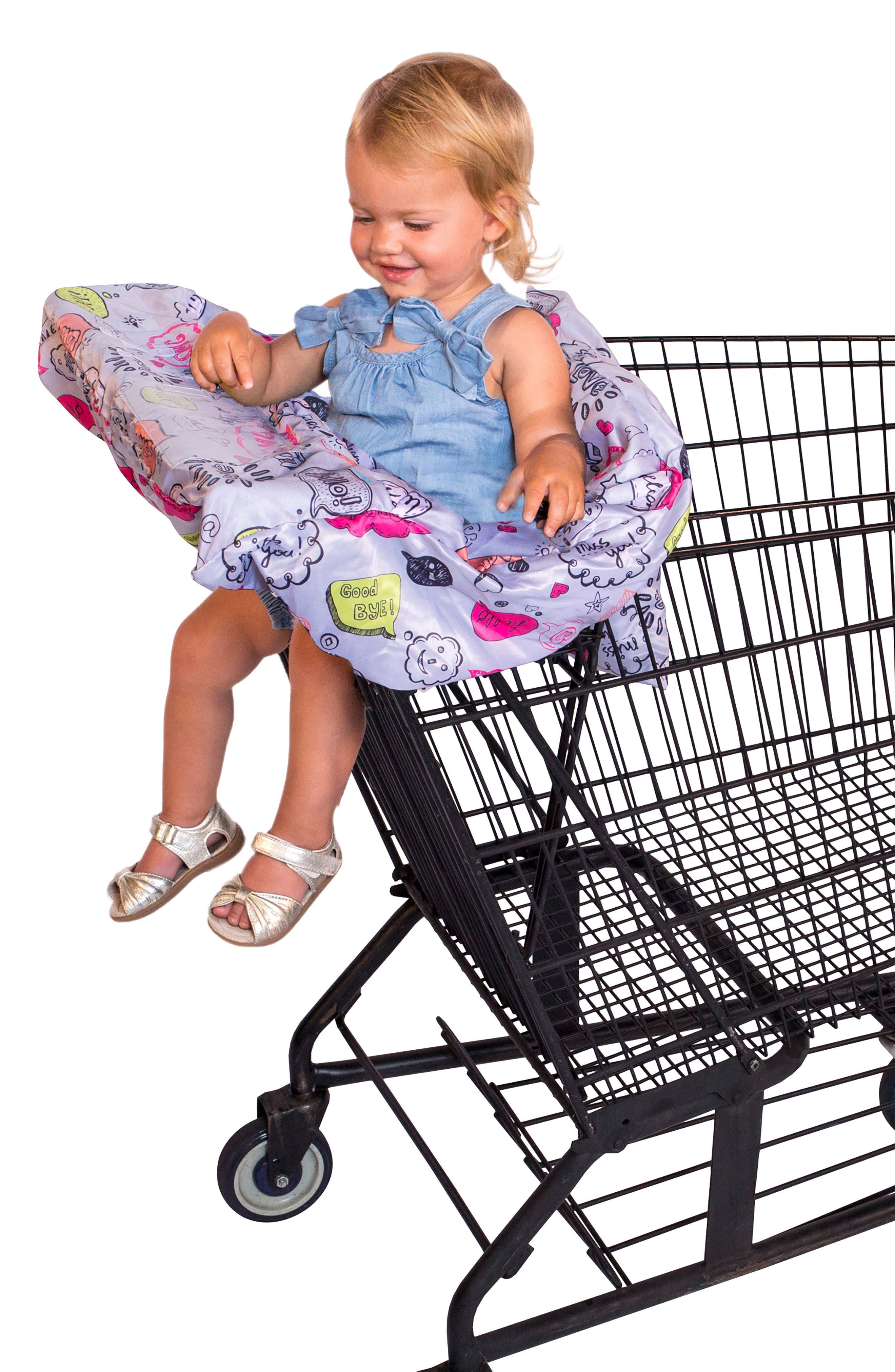 Highchair/Shopping Cart Cover,                             Alternate thumbnail 5, color,                             Grey Text Bubble