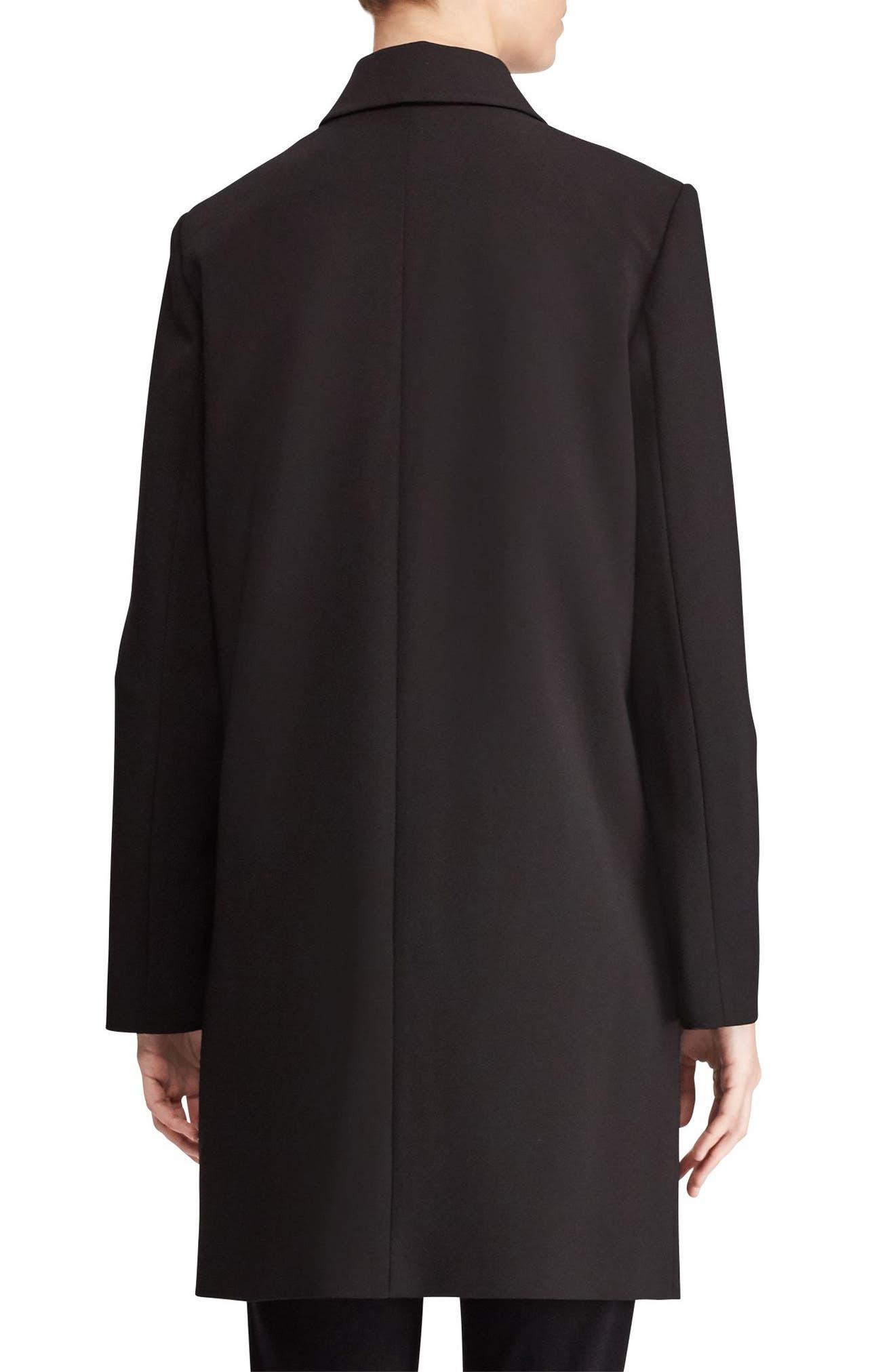 Crepe Reefer Coat,                             Alternate thumbnail 2, color,                             Black