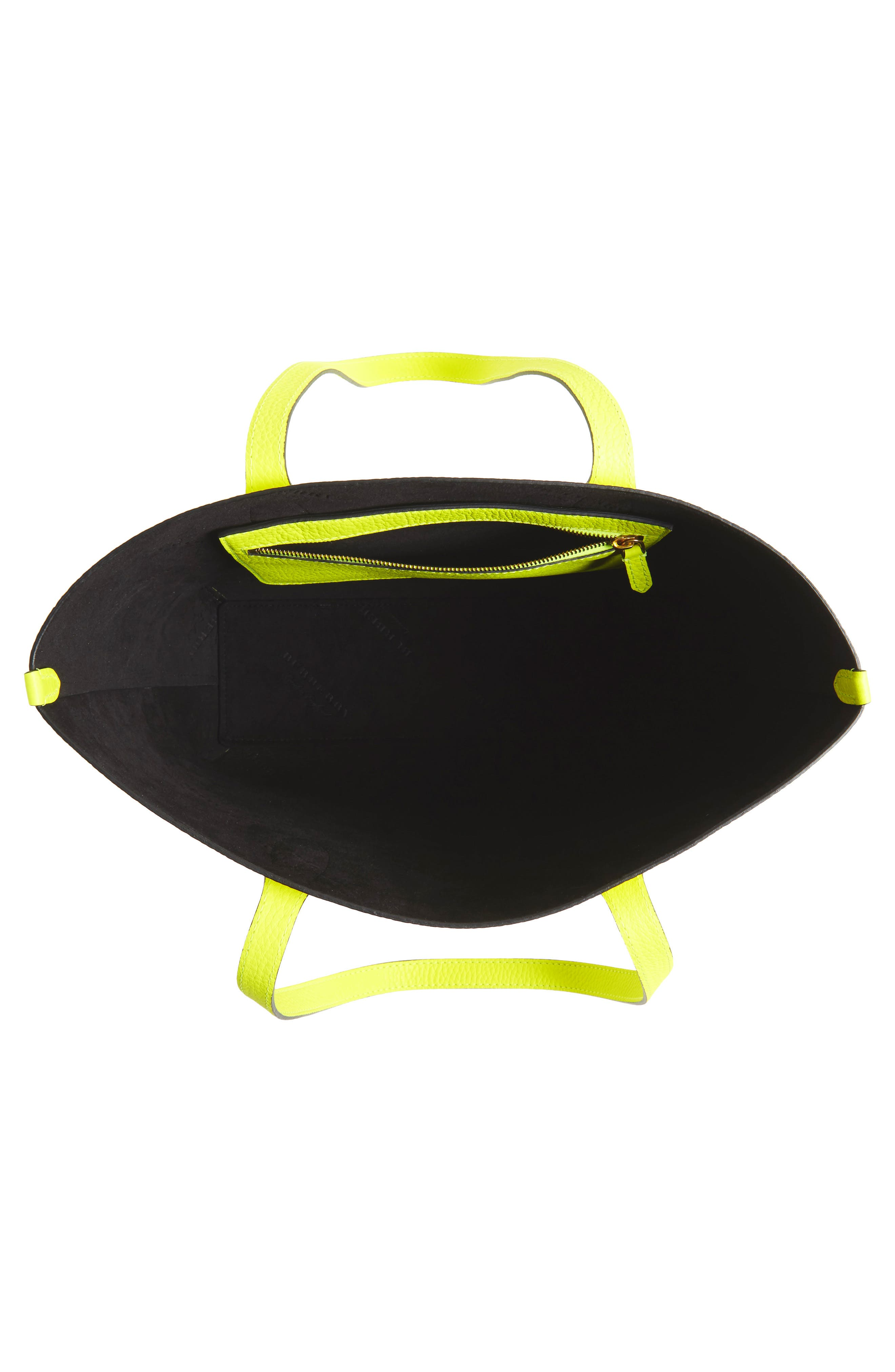 Large Remington Logo Leather Tote,                             Alternate thumbnail 4, color,                             Neon Yellow