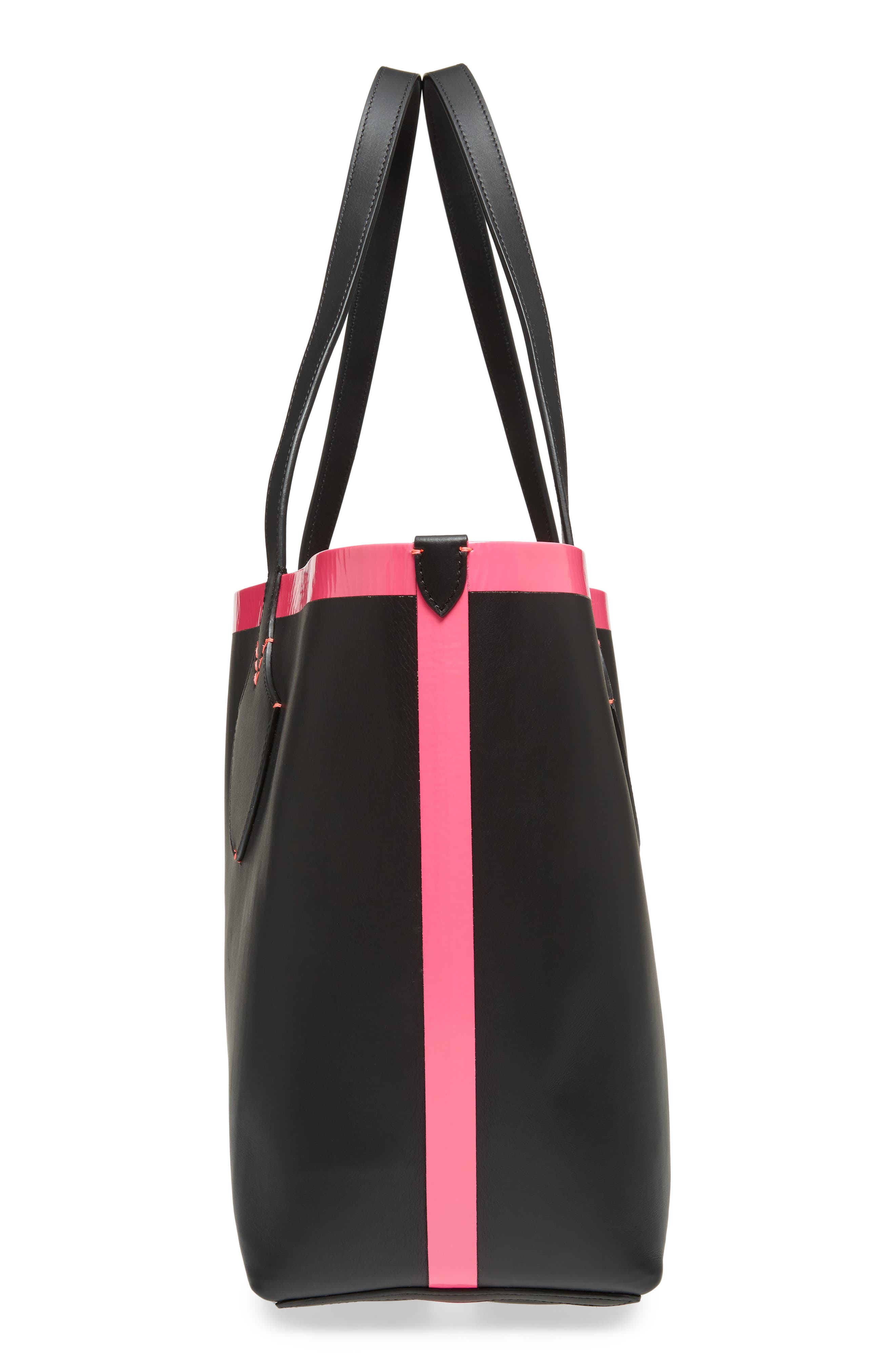 Medium Reversible Check Canvas & Leather Tote,                             Alternate thumbnail 6, color,                             Black/ Neon Pink