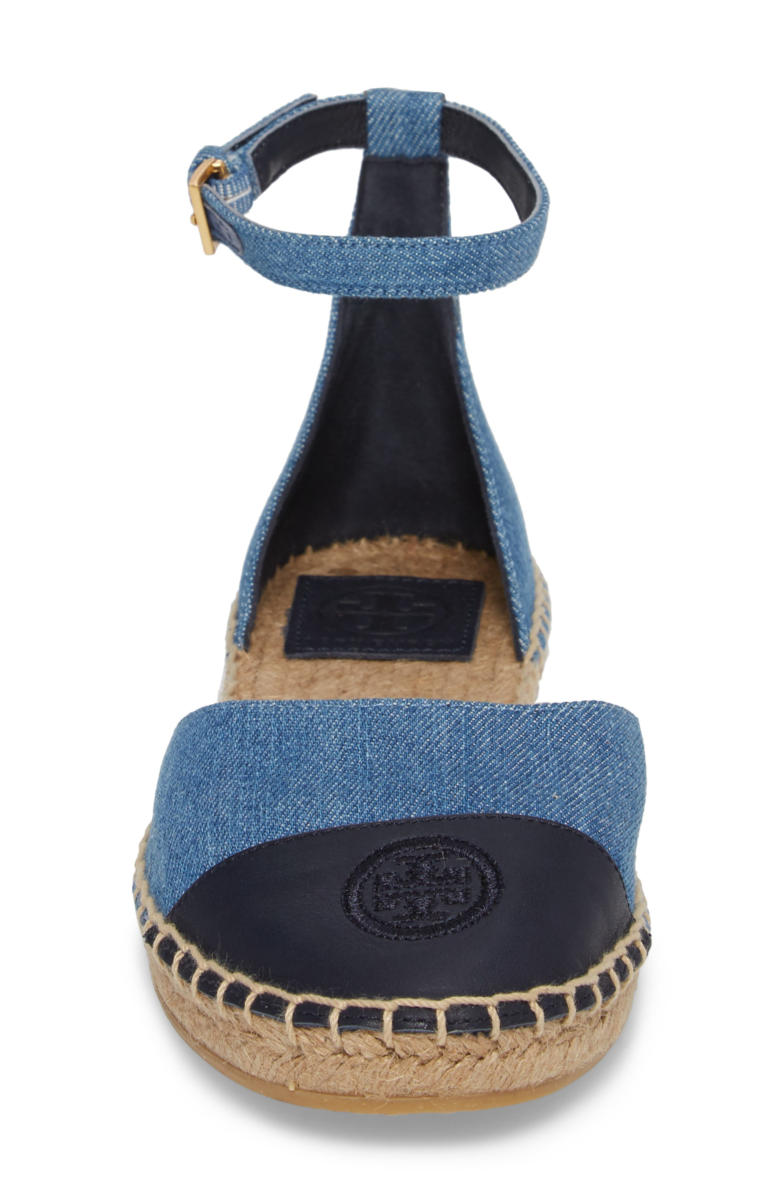 Ankle Strap Espadrille,                             Alternate thumbnail 4, color,                             Denim Chambray/ Perfect Navy