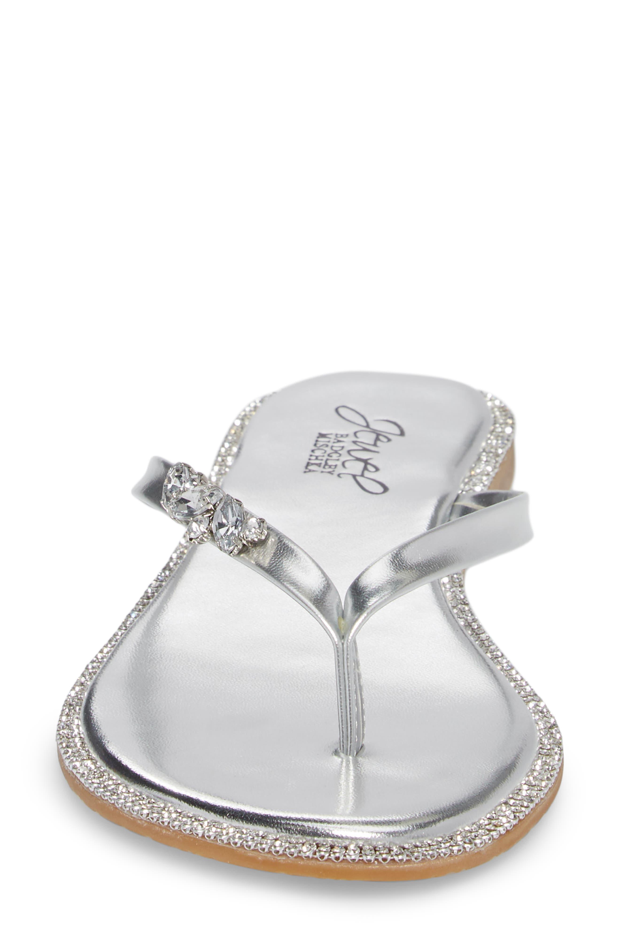 Thalia Crystal Embellished Flip Flop,                             Alternate thumbnail 4, color,                             Silver Leather
