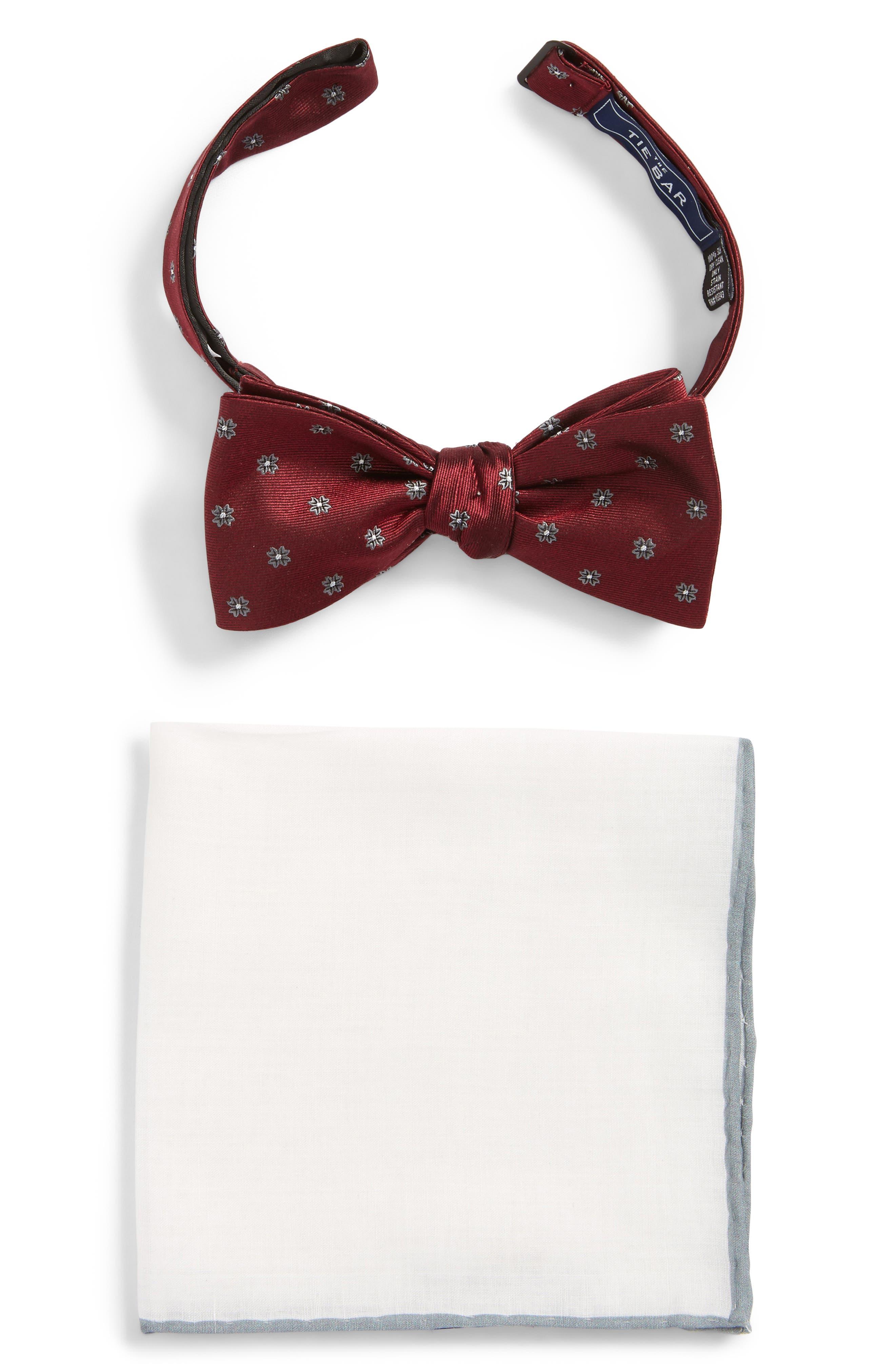 Bow Tie & Pocket Square Box Set,                         Main,                         color, Burgundy