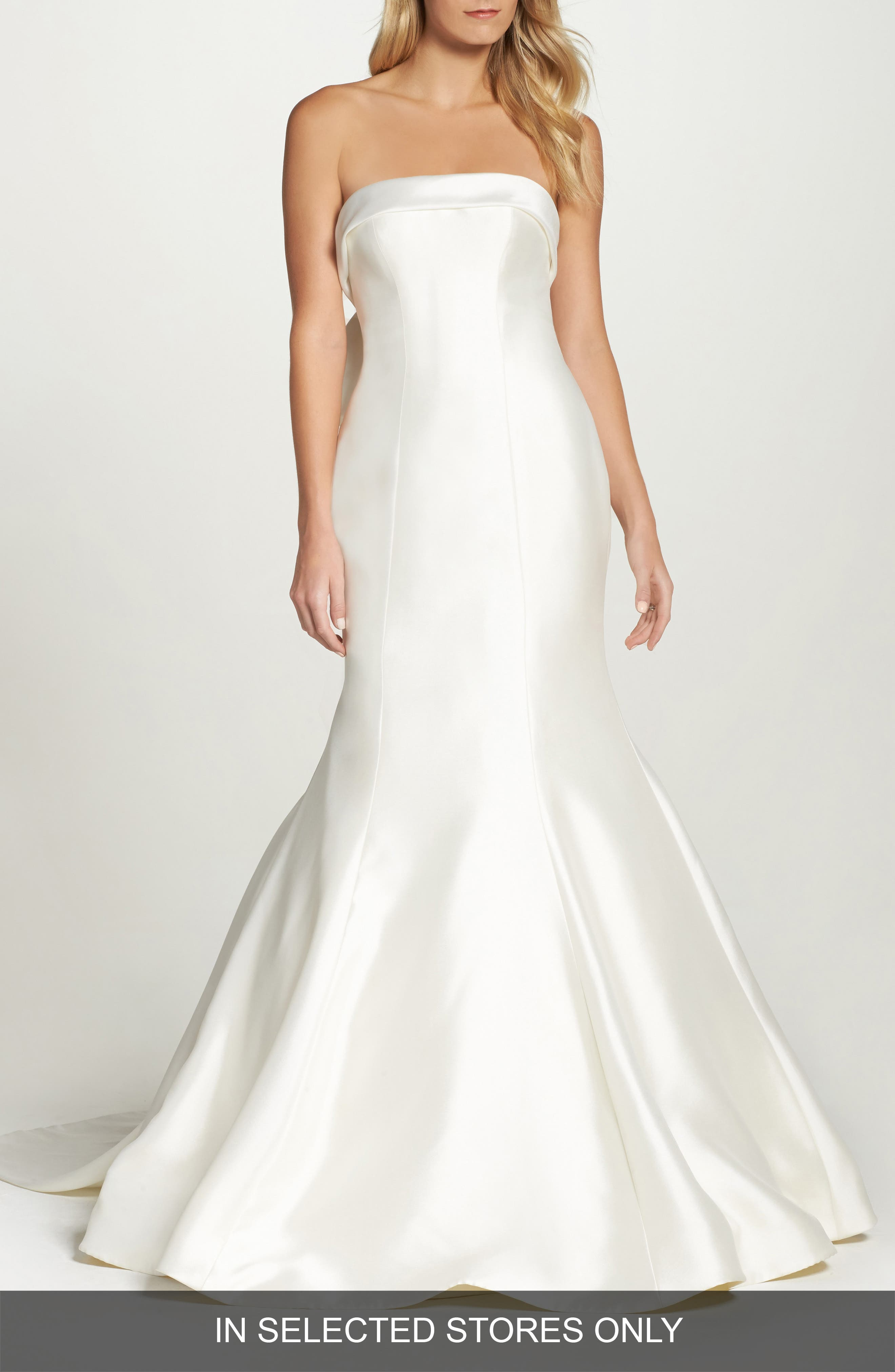 Peony Strapless Mikado Trumpet Gown with Bow Train,                         Main,                         color, Ivory