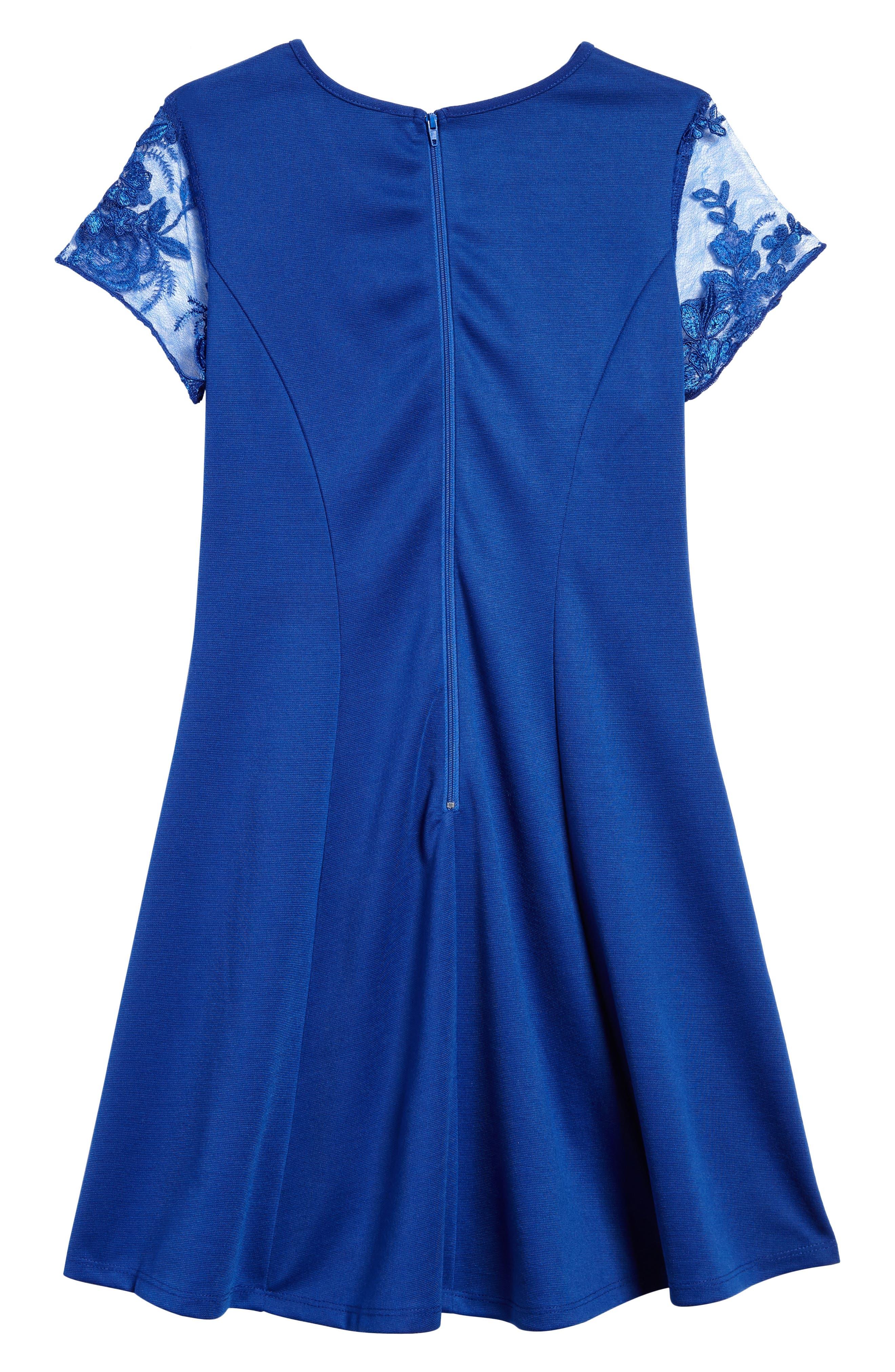 Priscilla Lace Sleeve Dress,                             Alternate thumbnail 2, color,                             Royal