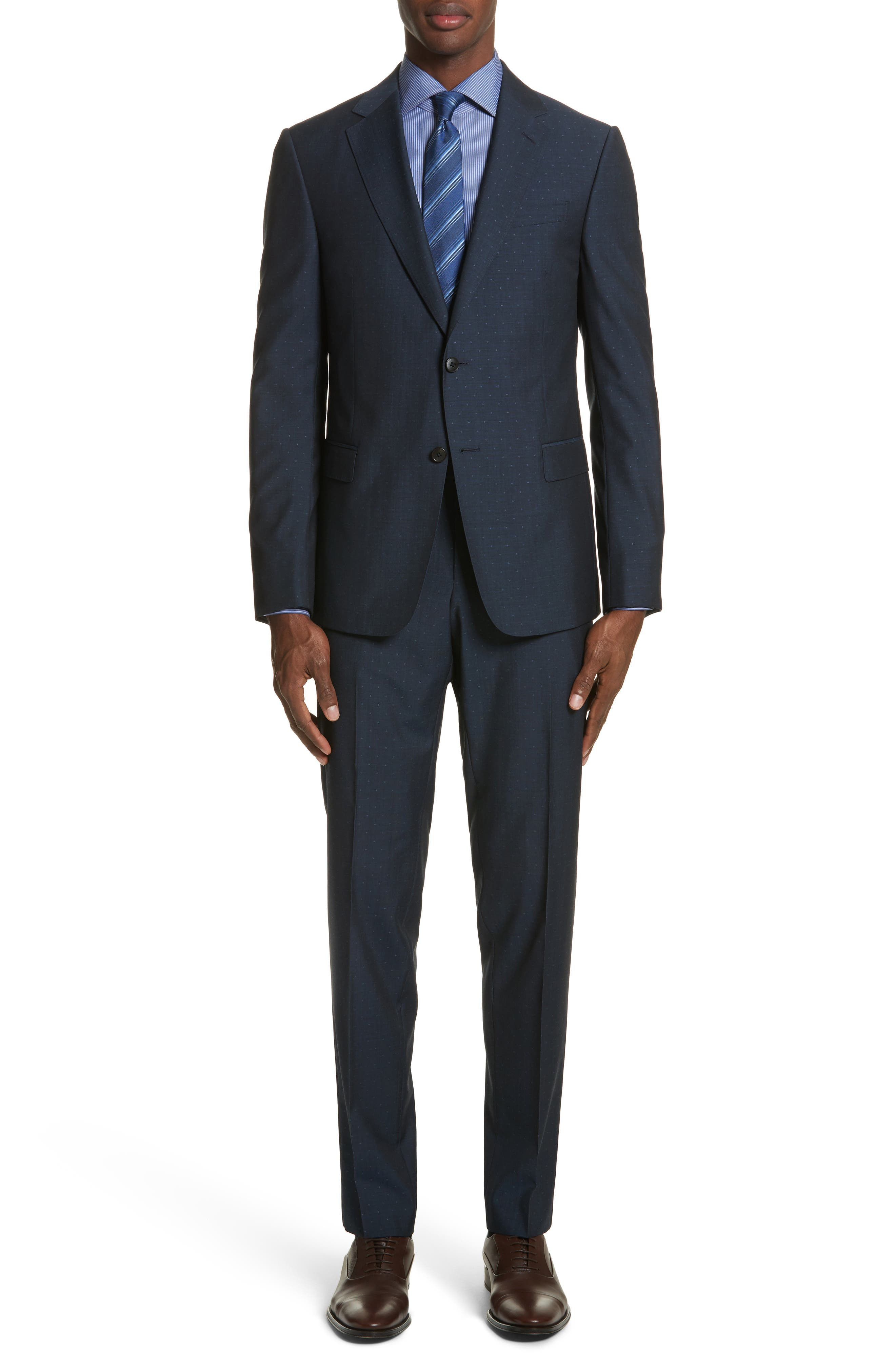 Classic Fit Dot Wool Suit,                         Main,                         color, Navy Check