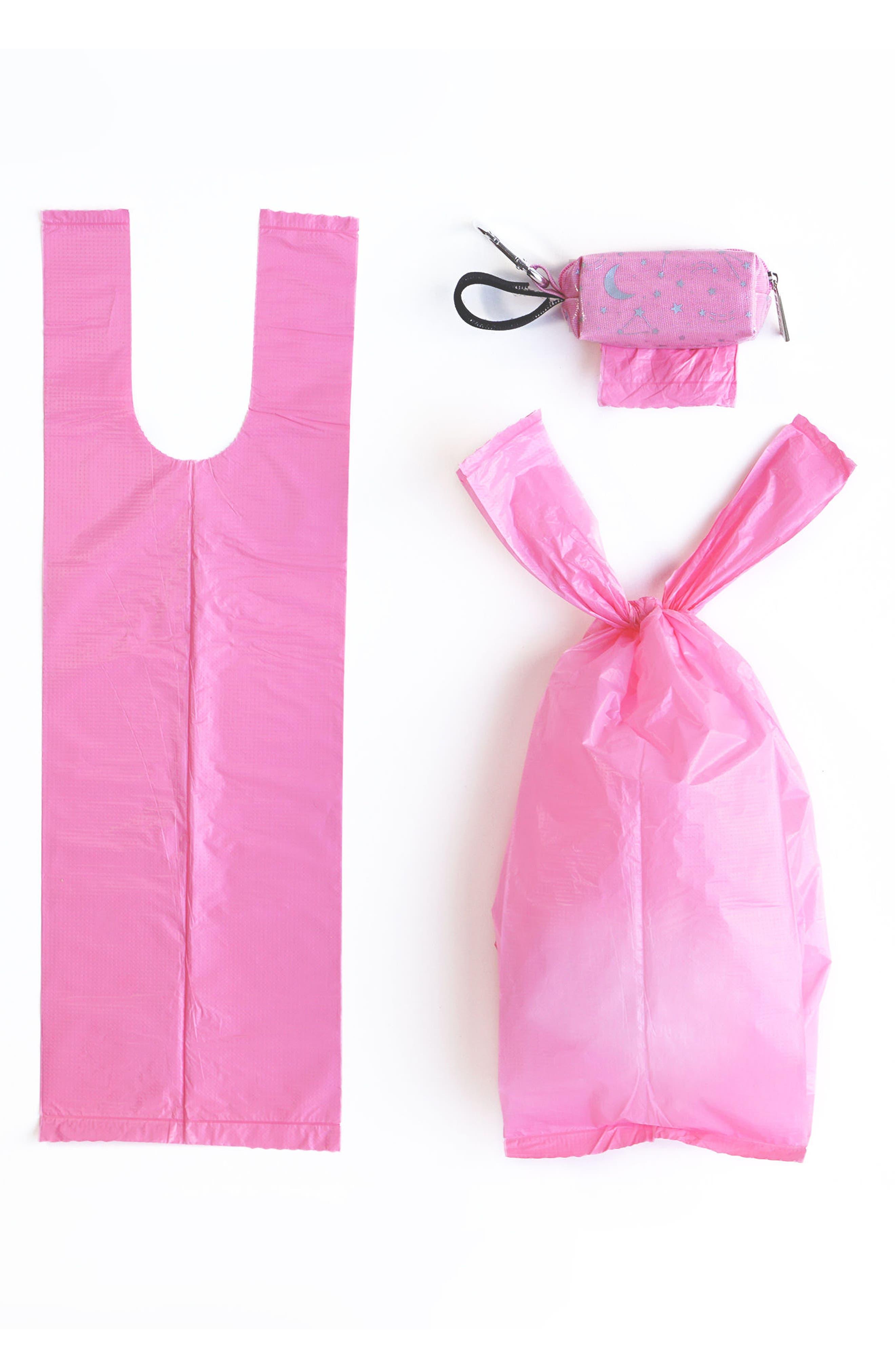 Portable Clip-On Dispenser & Bag Set,                             Alternate thumbnail 3, color,                             Pink/ Grey